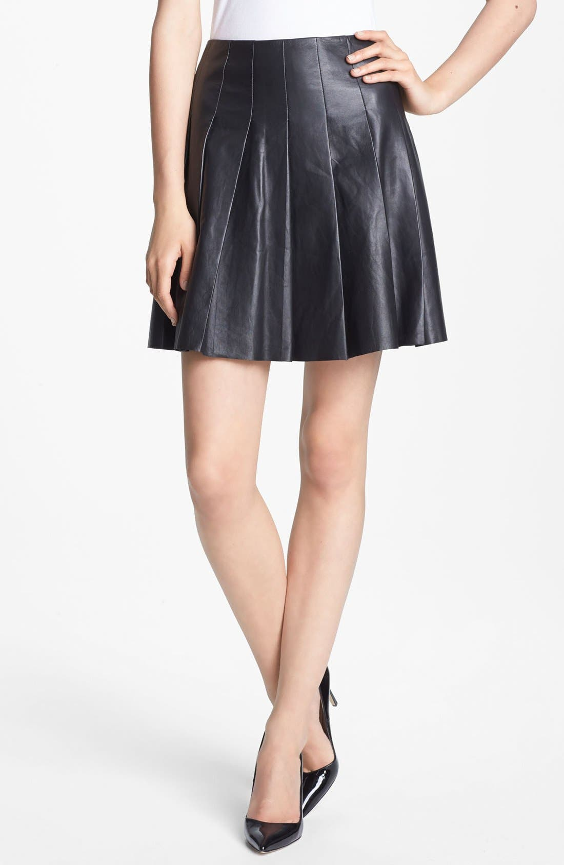 Main Image - Miss Wu Pleated Leather Skirt (Nordstrom Exclusive)