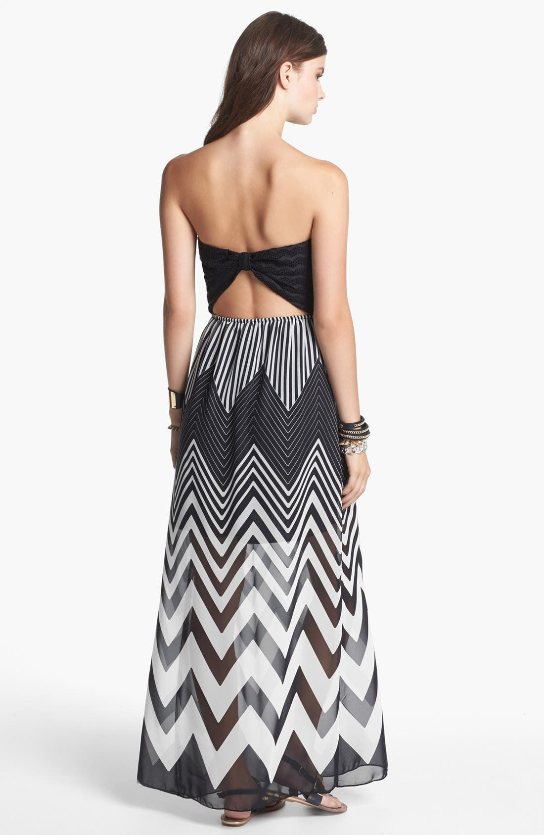Alternate Image 2  - Trixxi Strapless Chiffon Maxi Dress (Juniors) (Online Only)