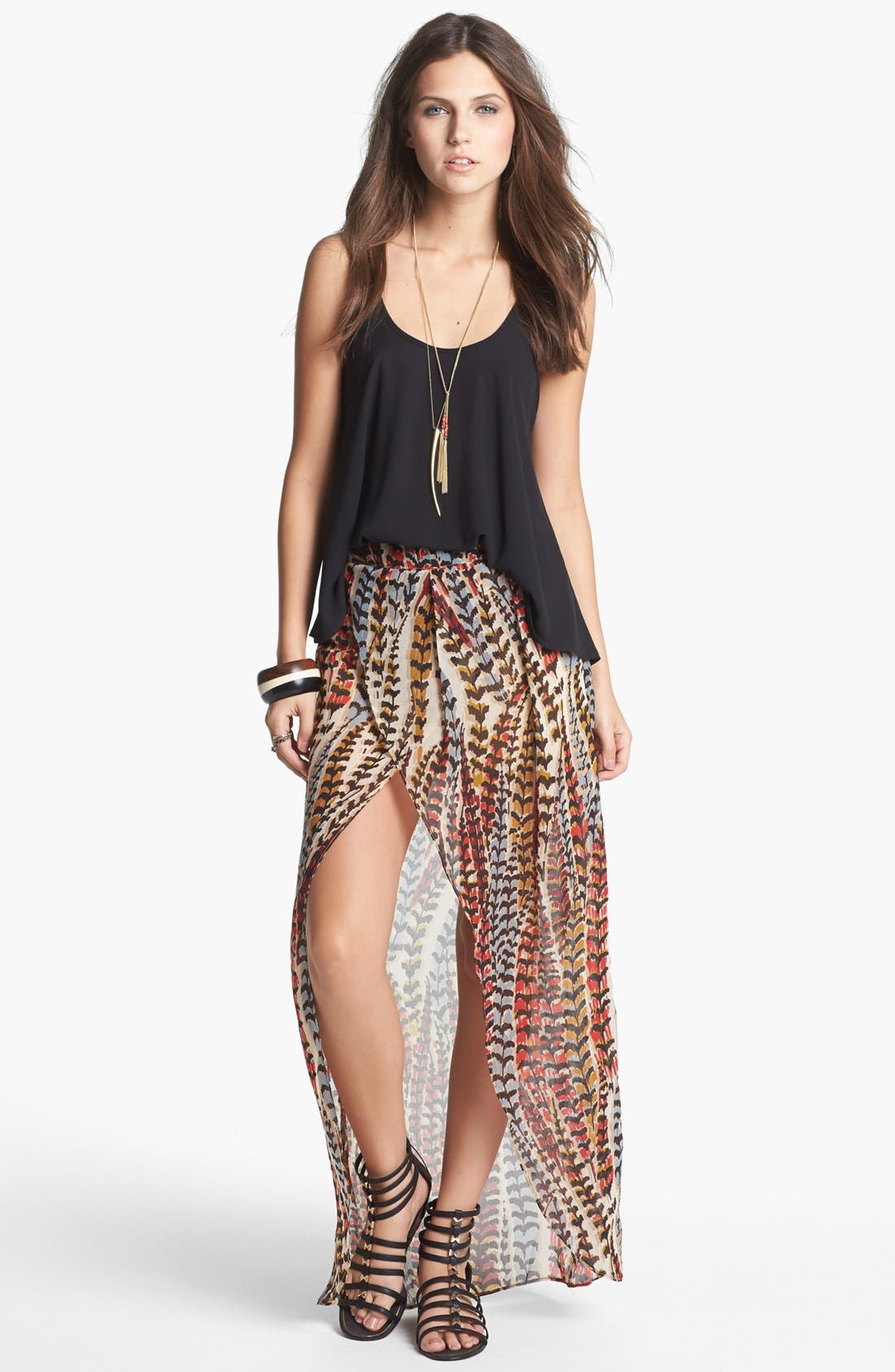 Main Image - Mimi Chica High/Low Print Faux Wrap Skirt (Juniors)