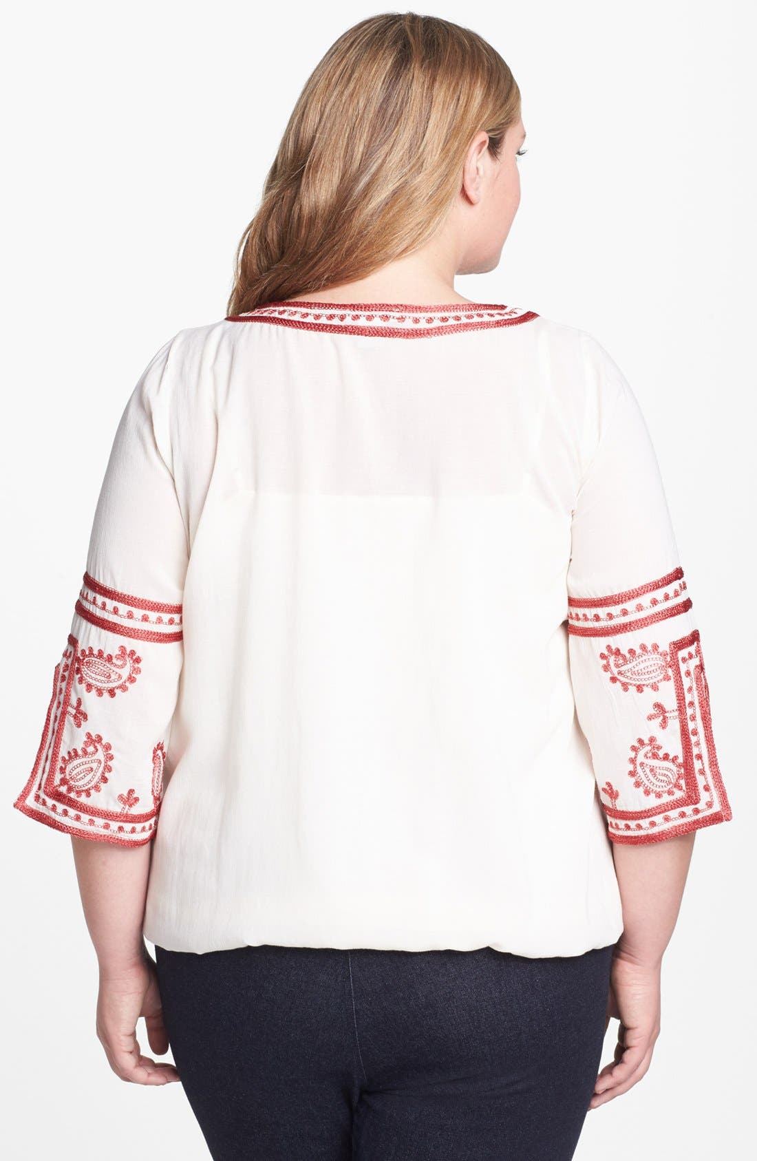 Alternate Image 2  - Lucky Brand Embroidered Tunic (Plus)