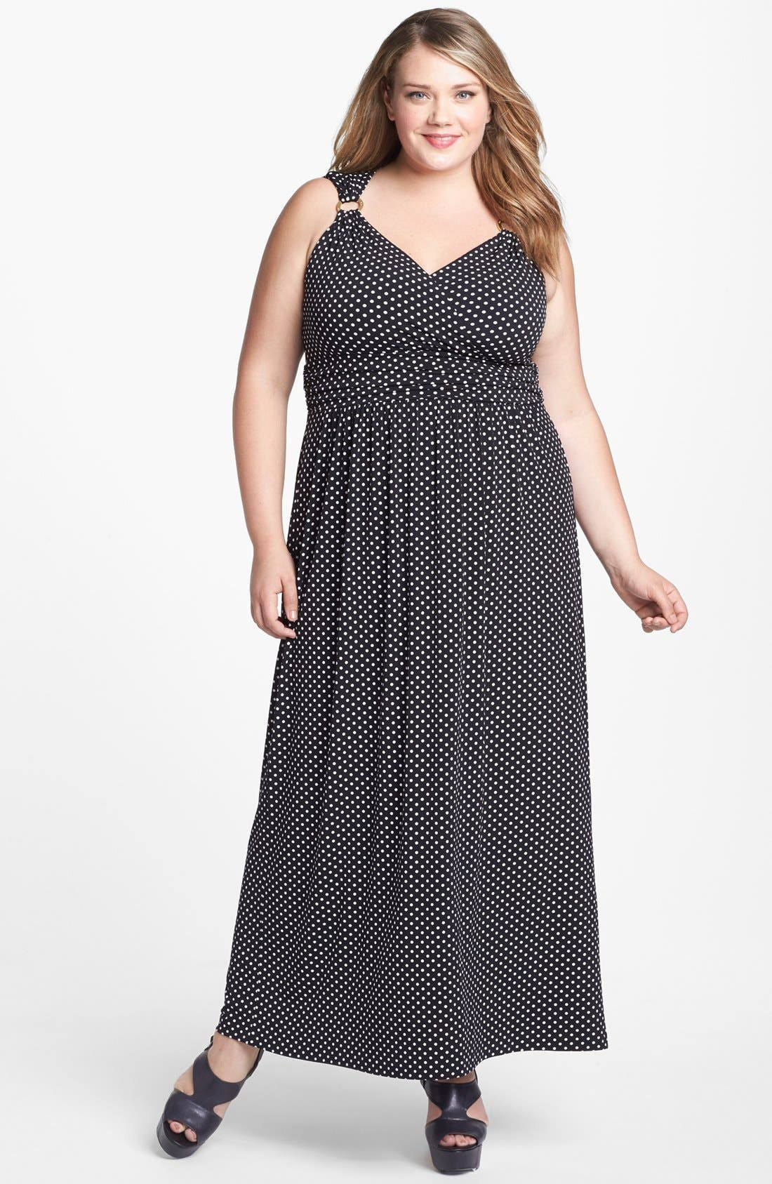 Alternate Image 1 Selected - Vince Camuto Polka Dot Maxi Dress (Plus Size) (Online Only)
