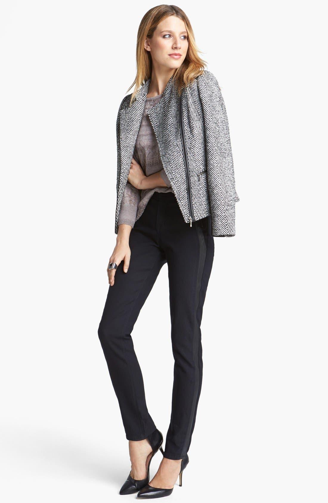 Main Image - NYDJ 'Megan' Faux Leather Trim Stretch Skinny Jeans (Dark Enzyme)