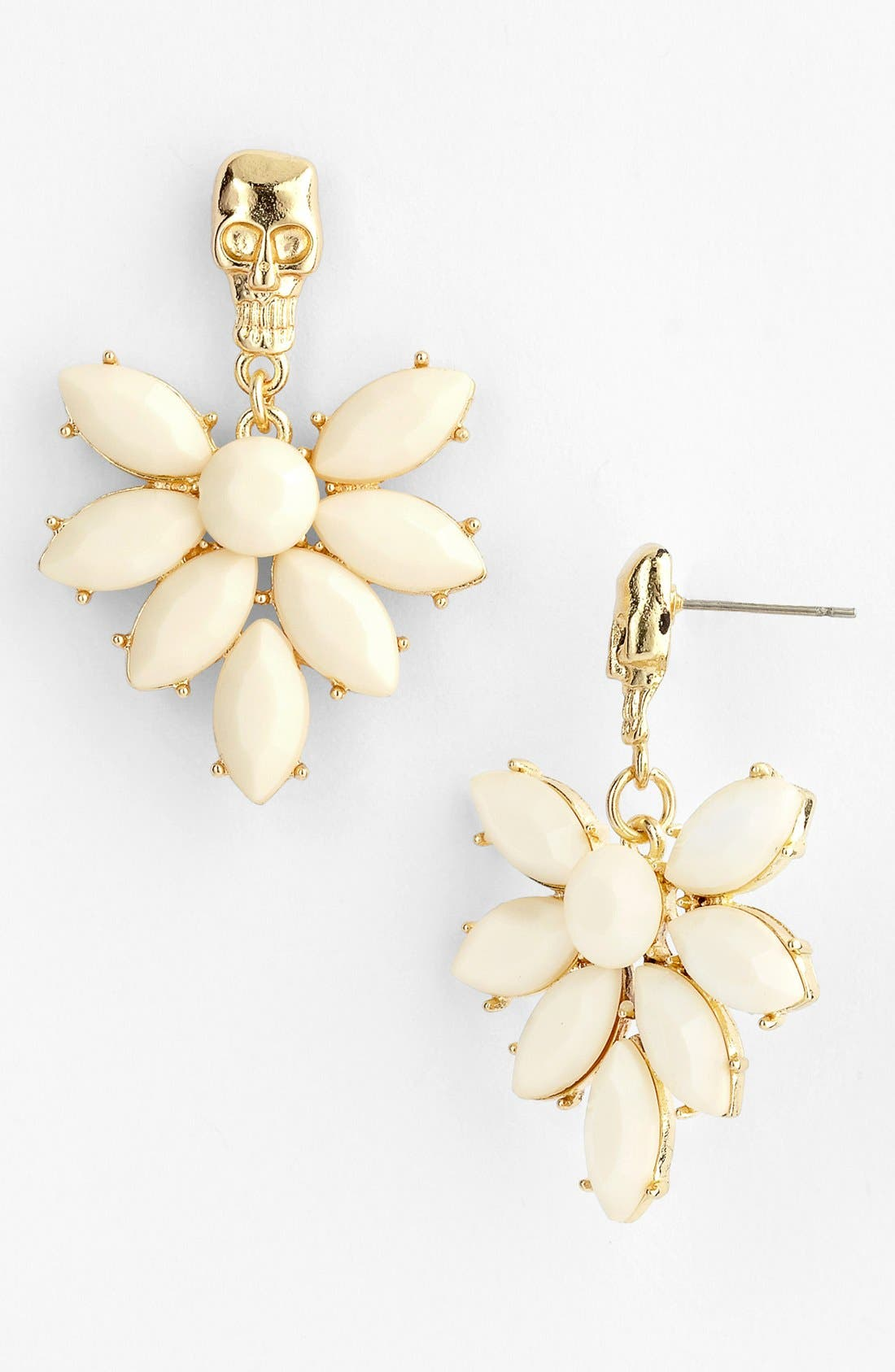 Alternate Image 1 Selected - Guinevere 'Ever Floral' Skull Drop Earrings