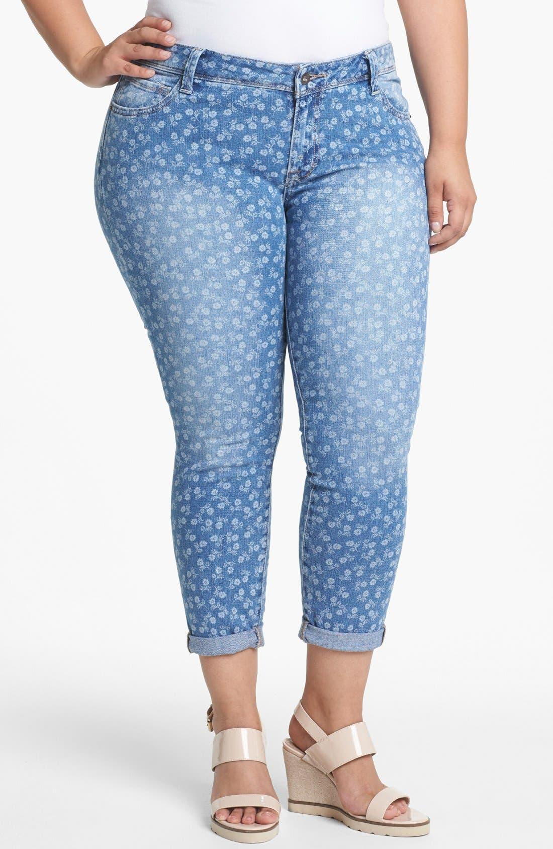 Alternate Image 1 Selected - Lucky Brand 'Ginger' Print Boyfriend Jeans (Plus Size)