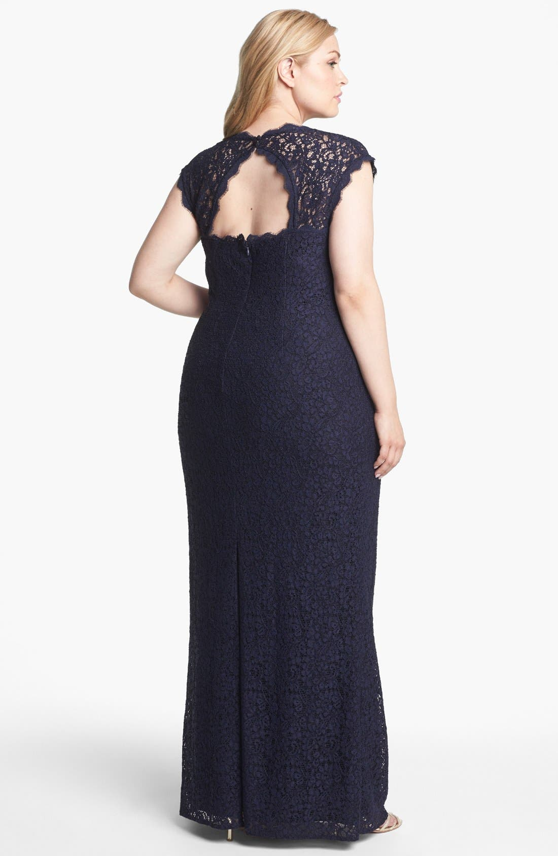 Alternate Image 2  - Adrianna Papell Back Cutout Lace Column Gown (Plus Size)
