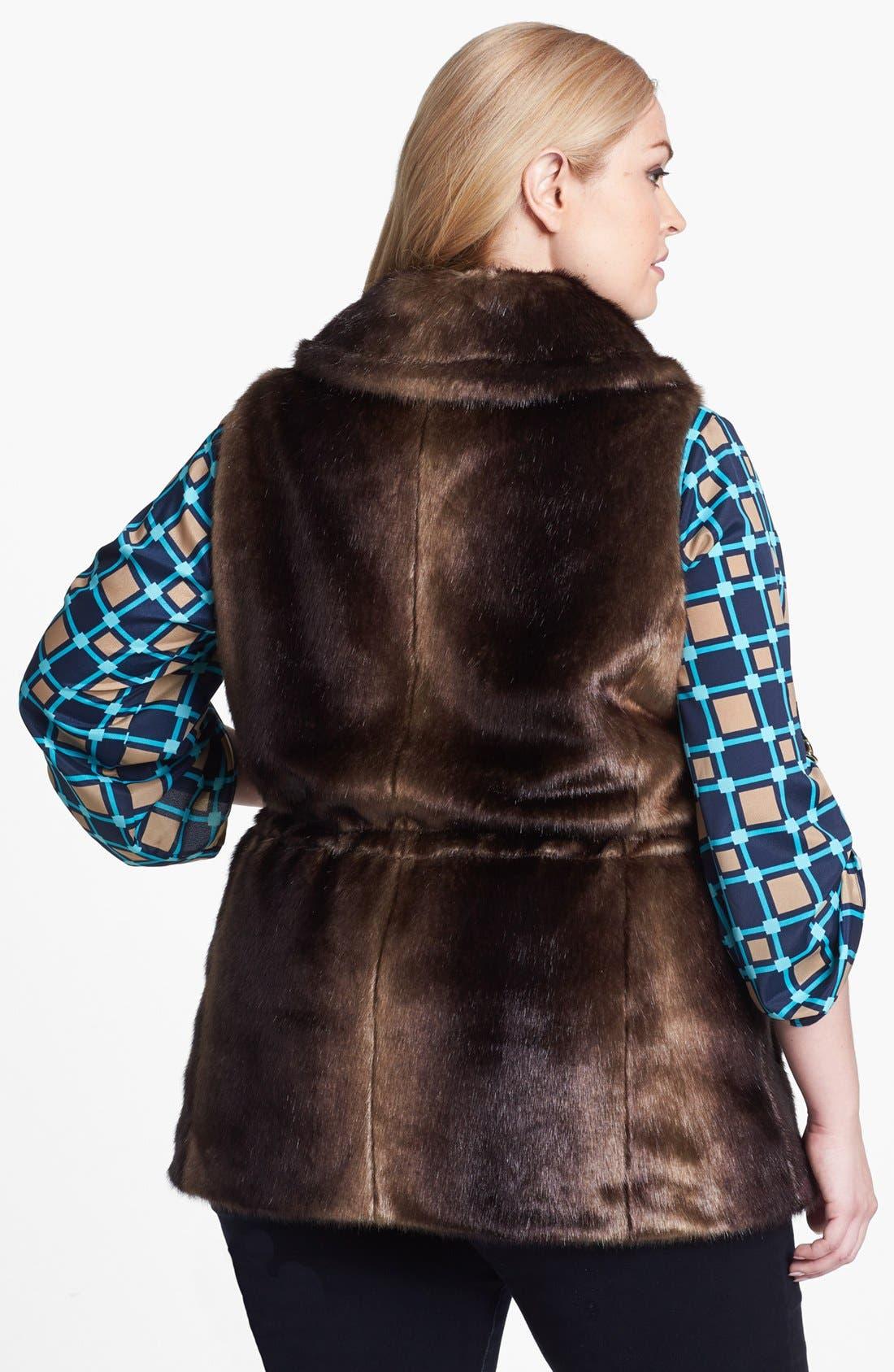 Alternate Image 2  - Ellen Tracy Faux Fur Anorak Vest (Plus Size)