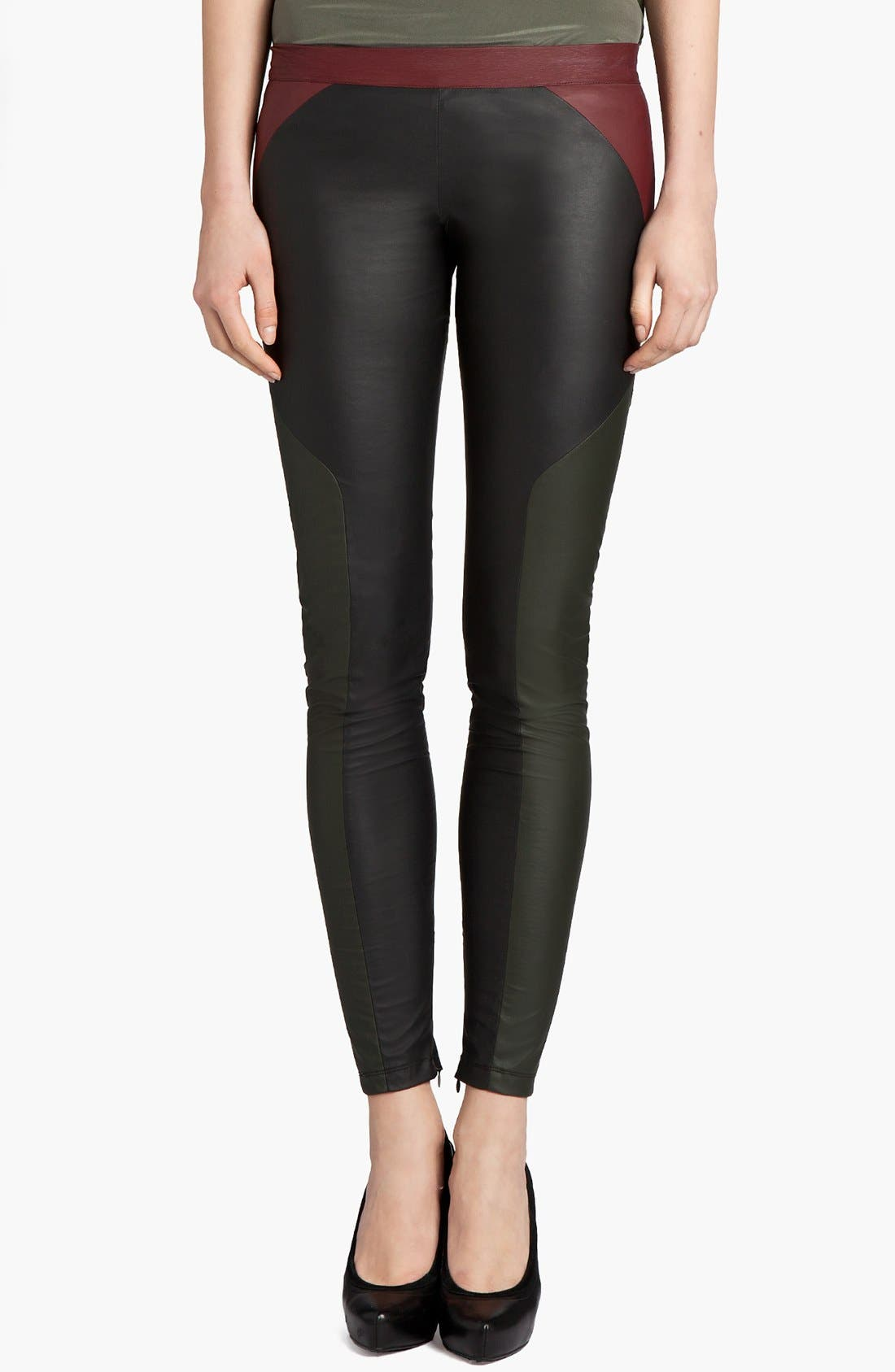 Alternate Image 1 Selected - MSGM Tricolor Faux Stretch Leather Leggings