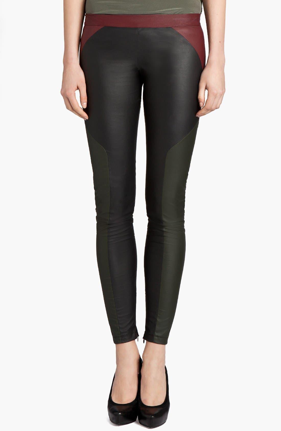Main Image - MSGM Tricolor Faux Stretch Leather Leggings