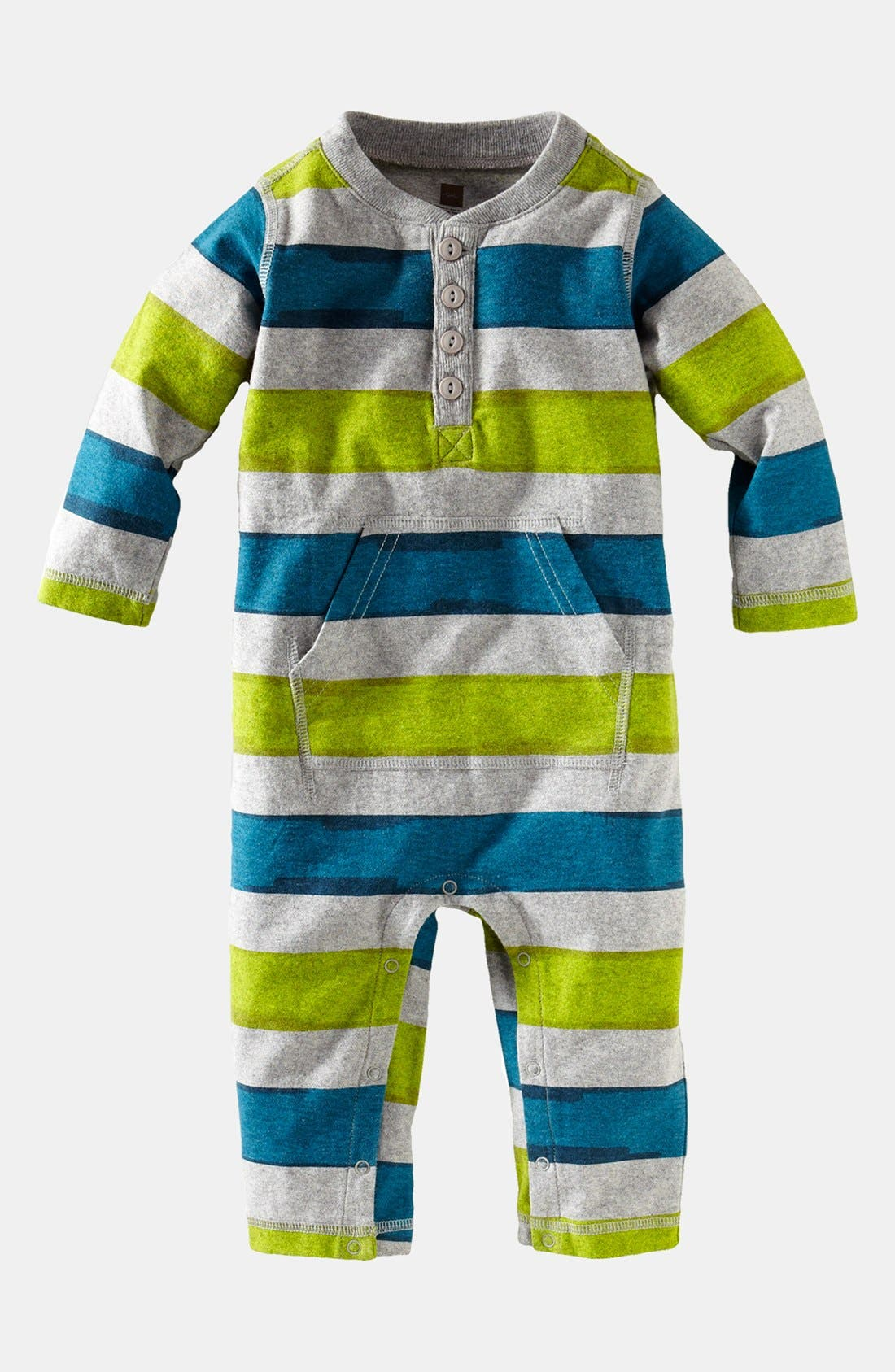 Alternate Image 1 Selected - Tea Collection Stripe Henley Romper (Baby Boys)