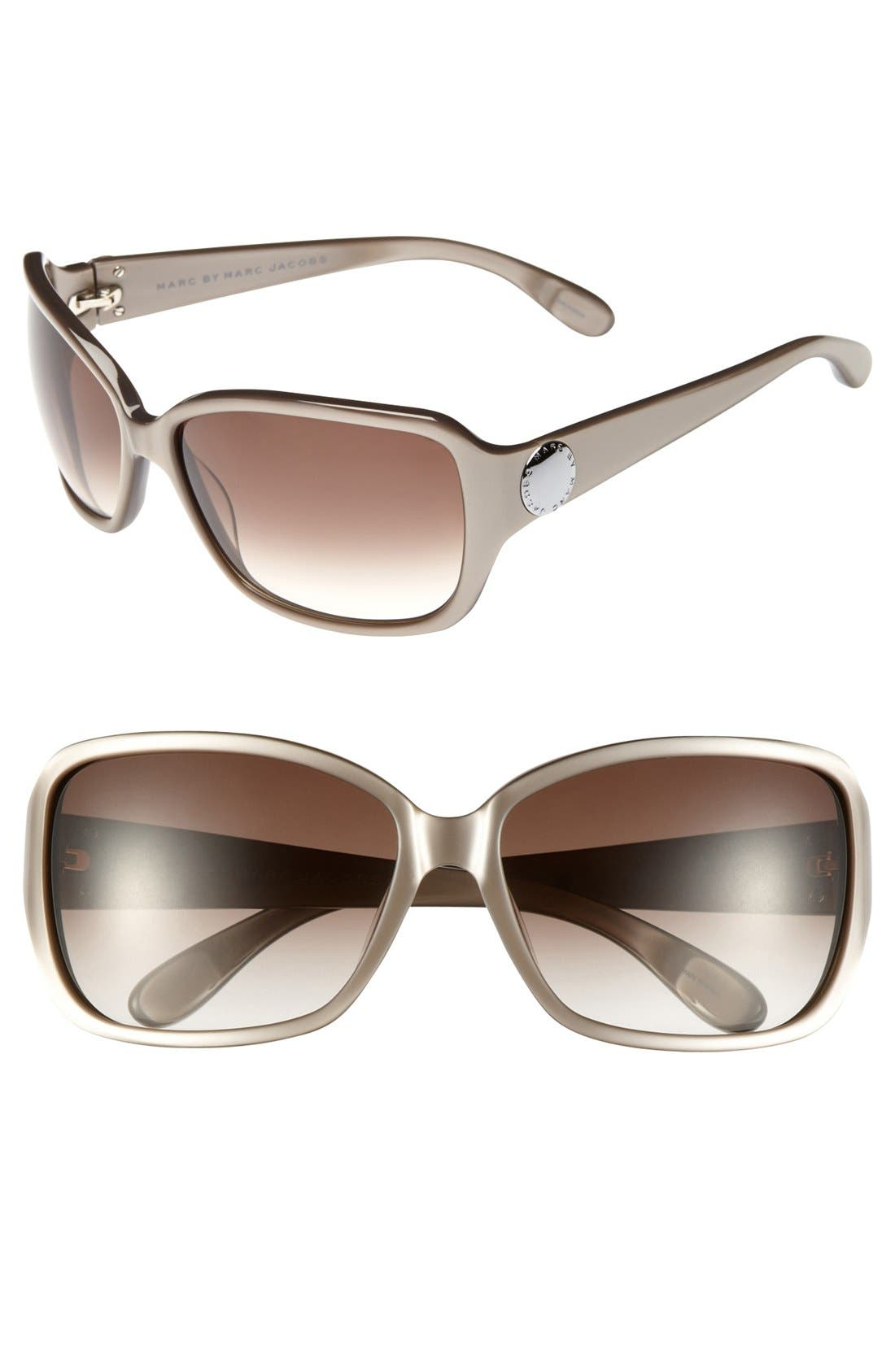 Main Image - MARC BY MARC JACOBS Metal Logo 60mm Square Sunglasses