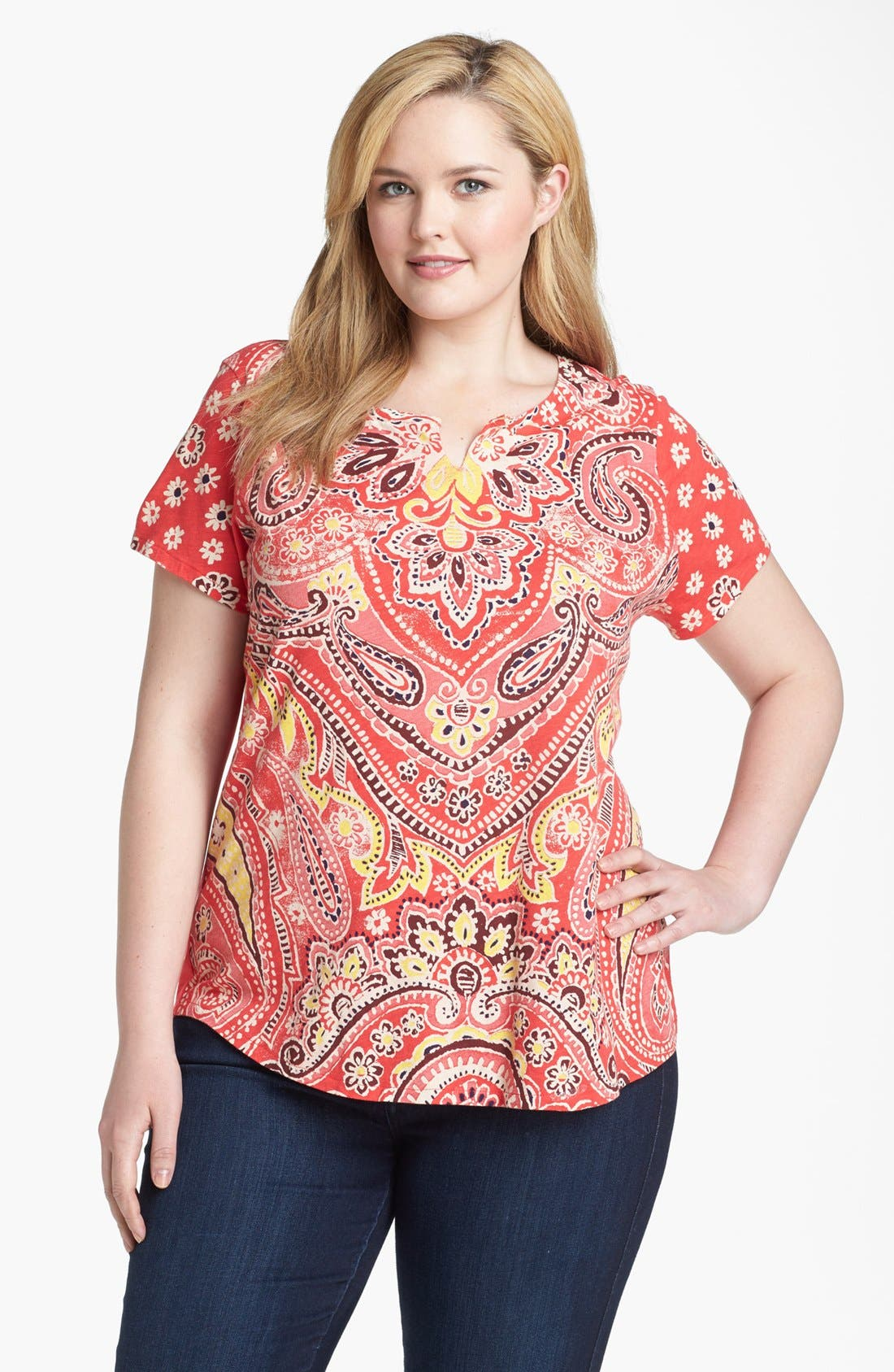 Alternate Image 1 Selected - Lucky Brand 'Lana' Mixed Print Tee (Plus Size)