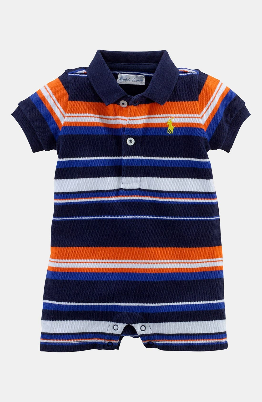 Alternate Image 1 Selected - Ralph Lauren Stripe Romper (Baby Boys)
