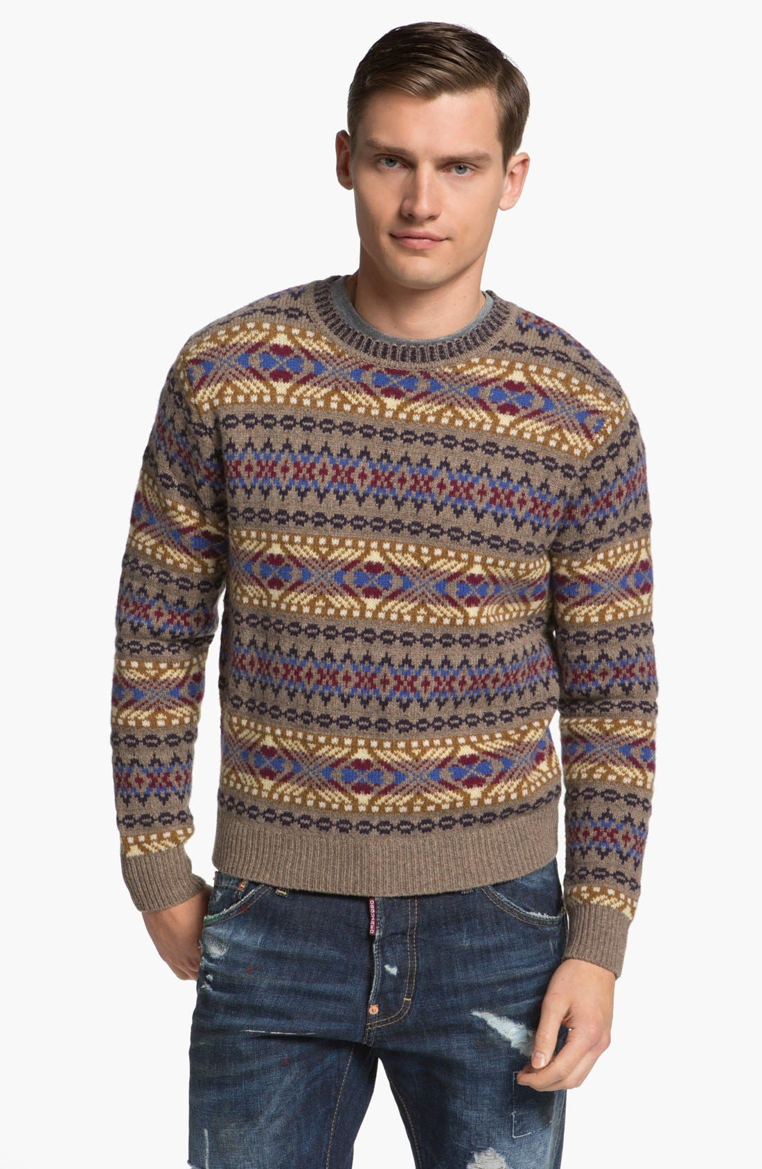 Alternate Image 1 Selected - Dsquared2 Fair Isle Wool Crewneck Sweater