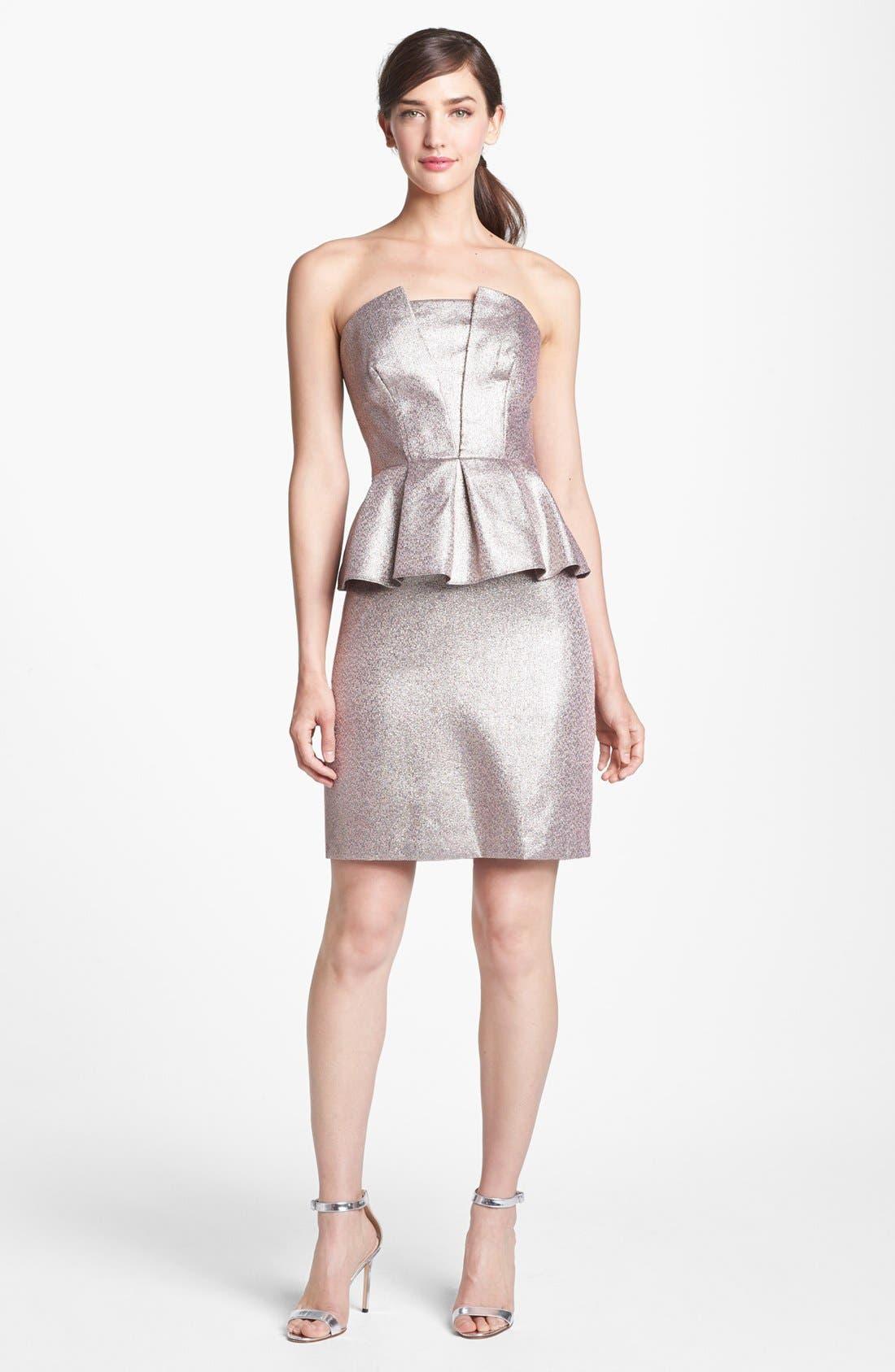 Alternate Image 1 Selected - Adrianna Papell Metallic Peplum Sheath Dress