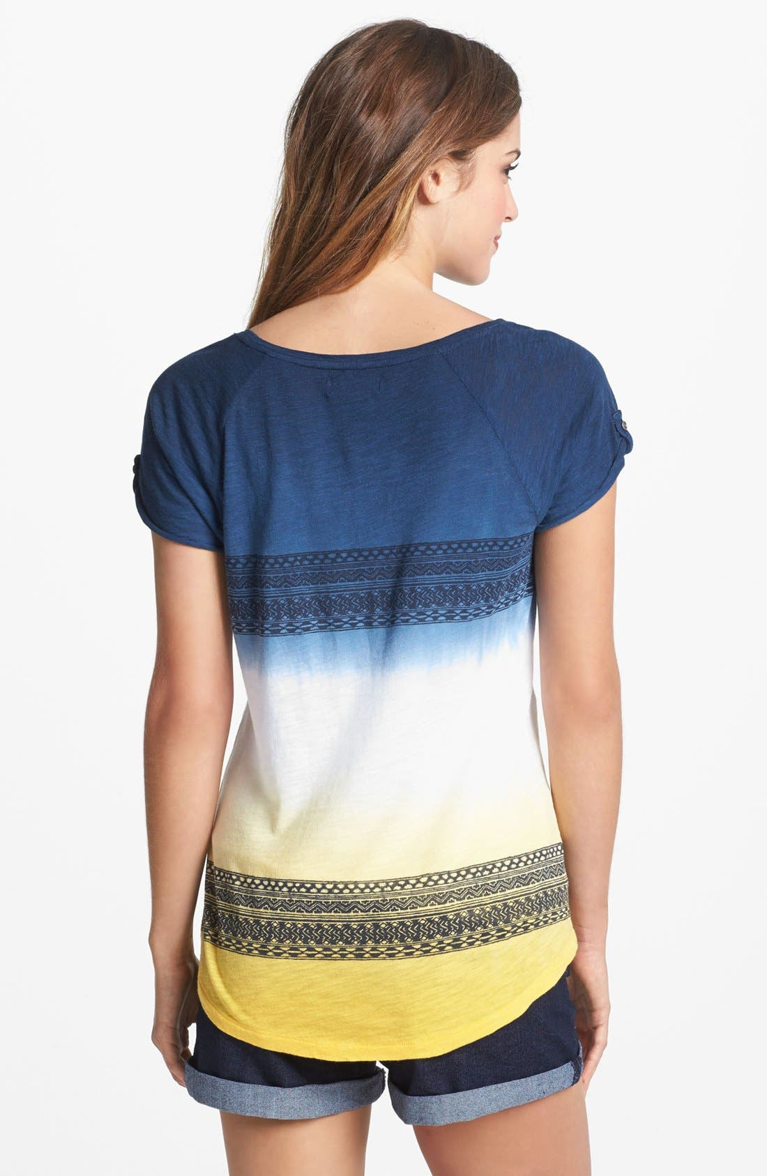 Alternate Image 2  - Lucky Brand Print Dip Dye Tee (Plus Size)