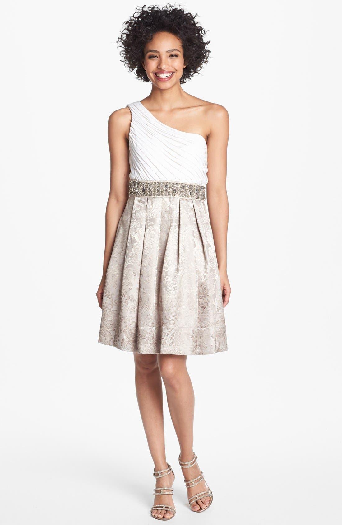 Alternate Image 1 Selected - Eliza J Embellished One Shoulder Fit & Flare Dress