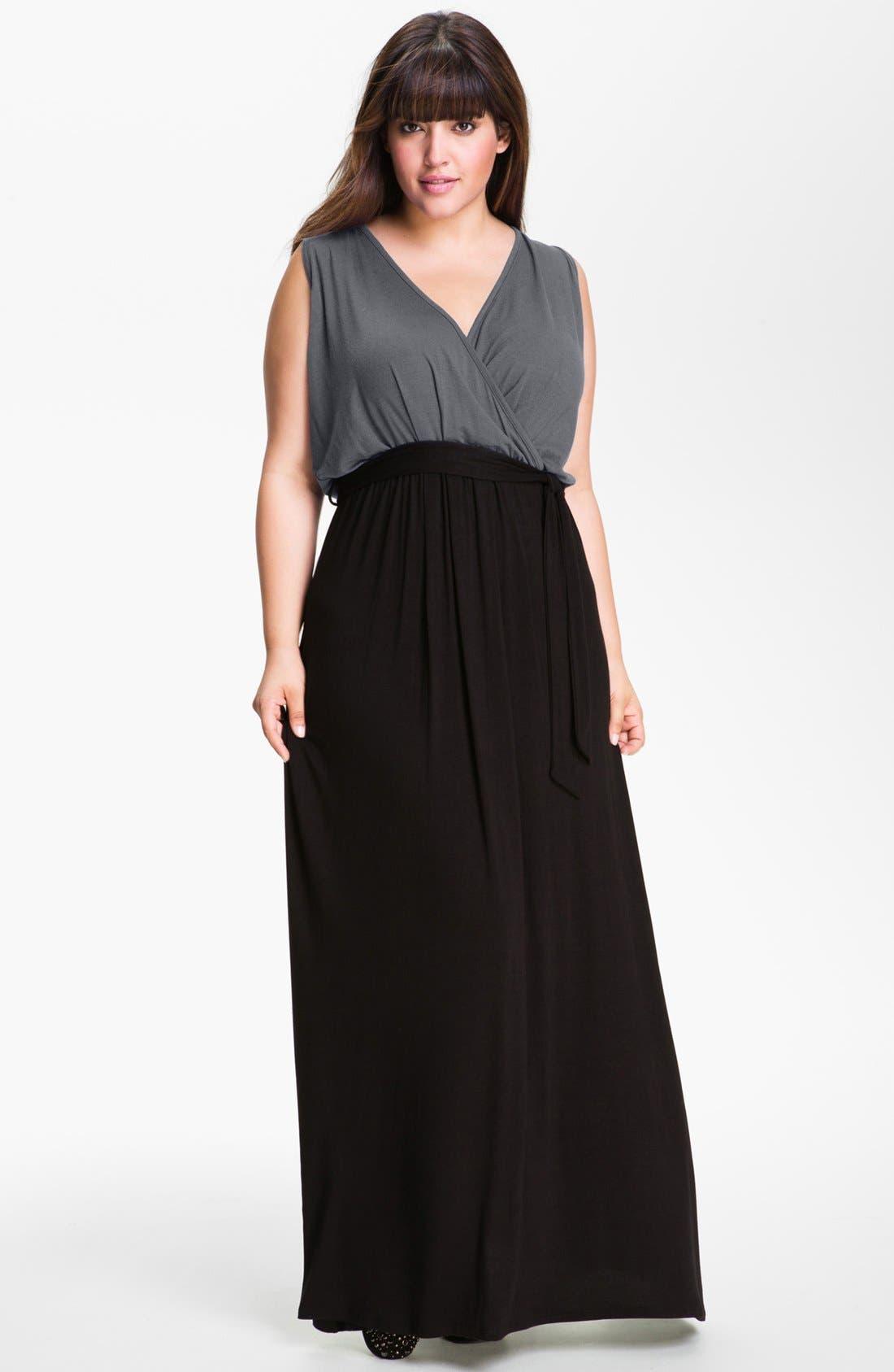 Main Image - Loveappella Surplice Maxi Dress (Plus Size)