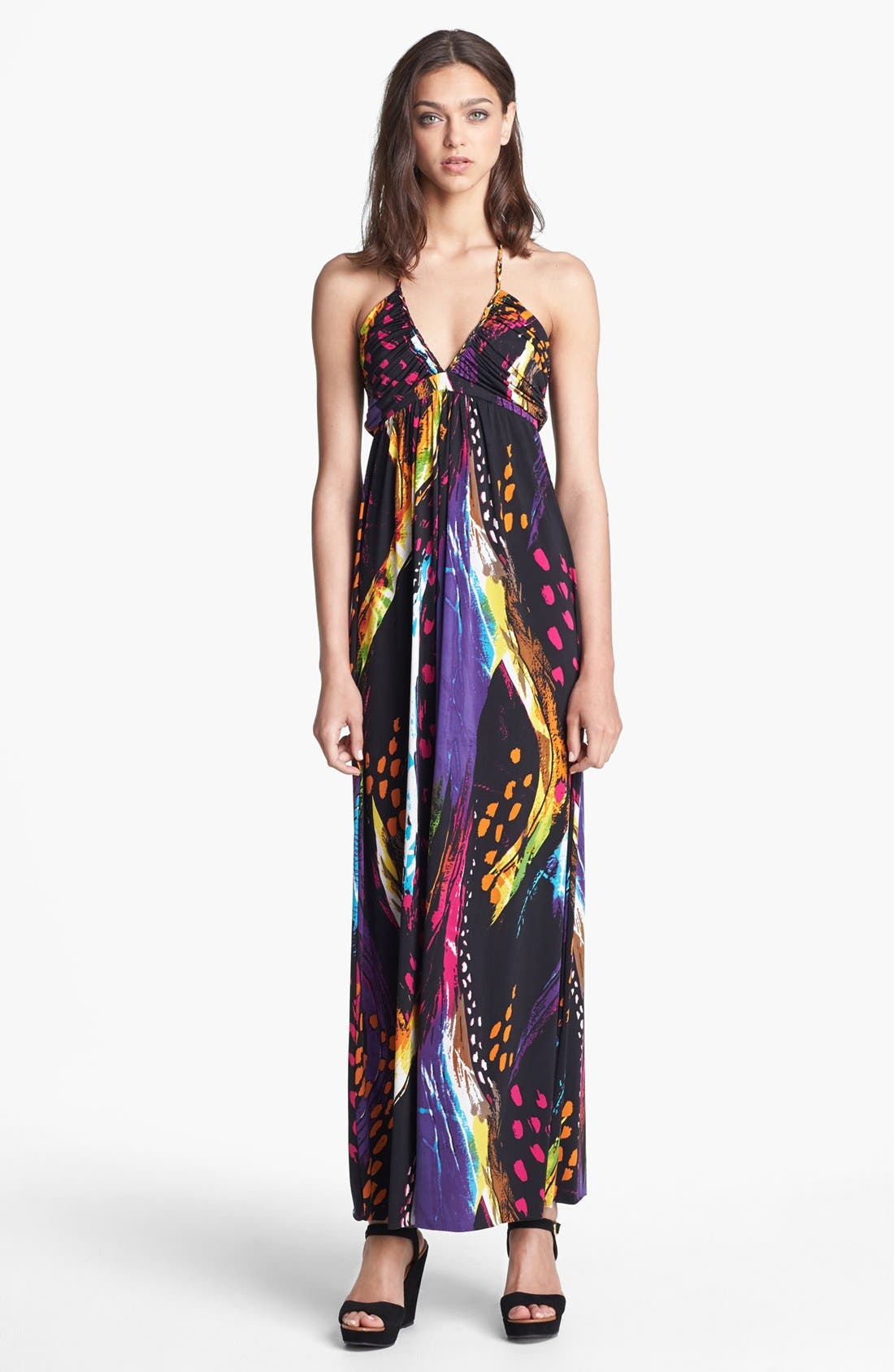 Main Image - Tbags Los Angeles Print Halter Maxi Dress