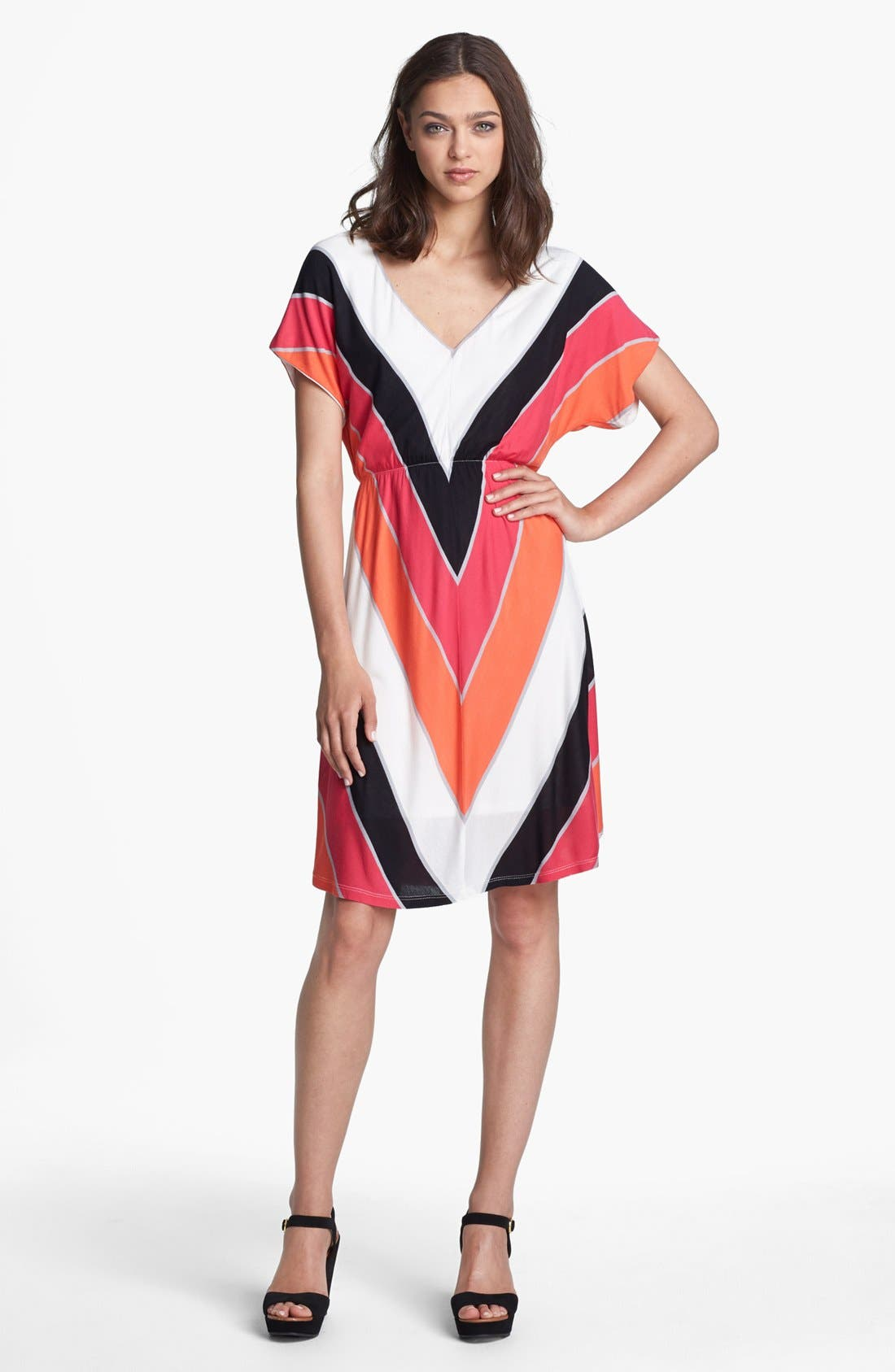 Main Image - Felicity & Coco V-Neck Chevron Stripe Jersey Dress (Nordstrom Exclusive)