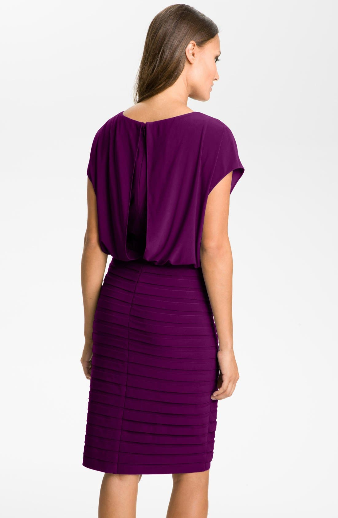 Alternate Image 2  - Adrianna Papell Pleated Jersey Blouson Dress