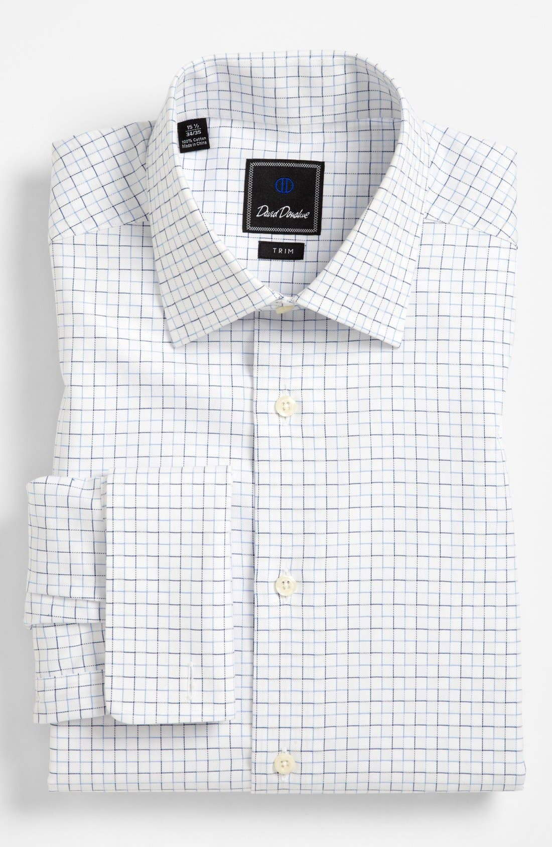 Main Image - David Donahue Trim Fit French Cuff Dress Shirt