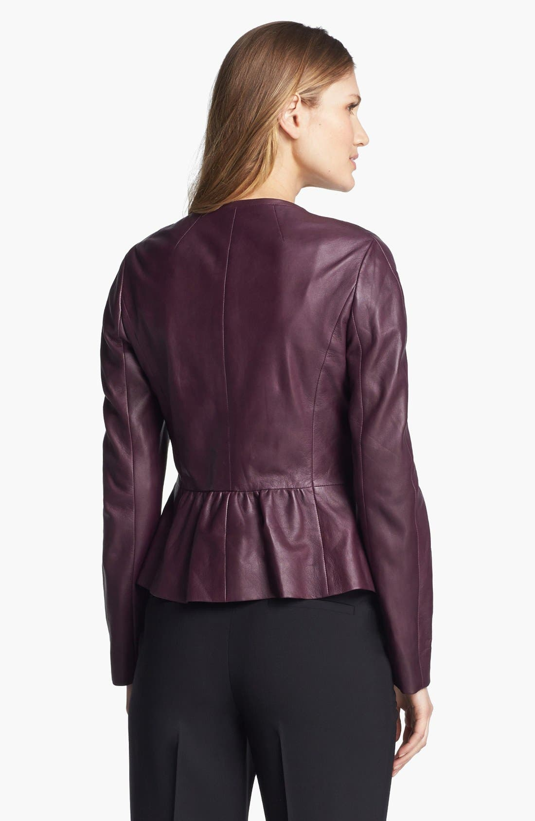 Alternate Image 2  - Classiques Entier® 'Lamb Moss' Collarless Leather Jacket