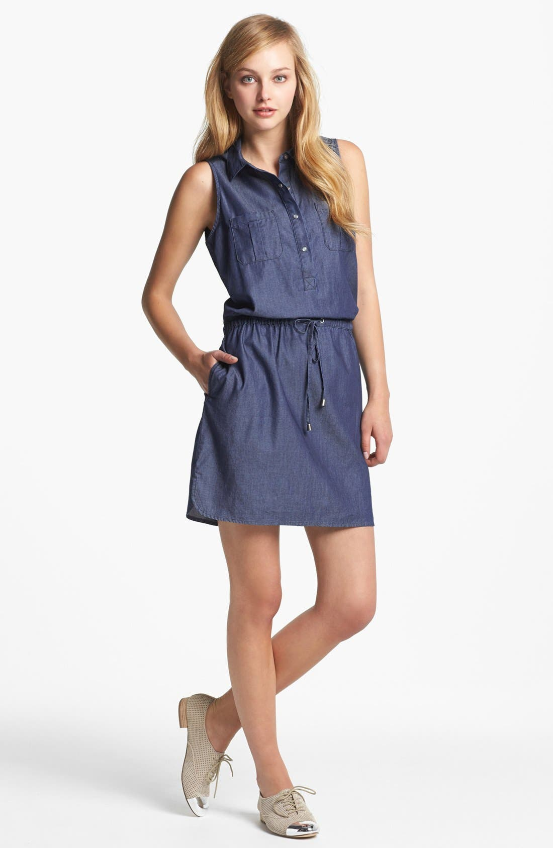 Alternate Image 1 Selected - Two by Vince Camuto Sleeveless Chambray Shirtdress