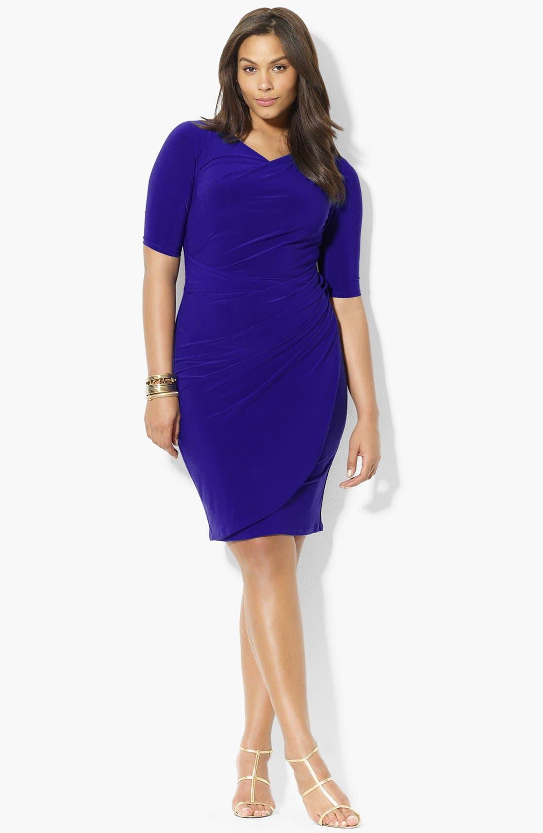 Main Image - Lauren Ralph Lauren Jersey Sheath Dress (Plus Size)
