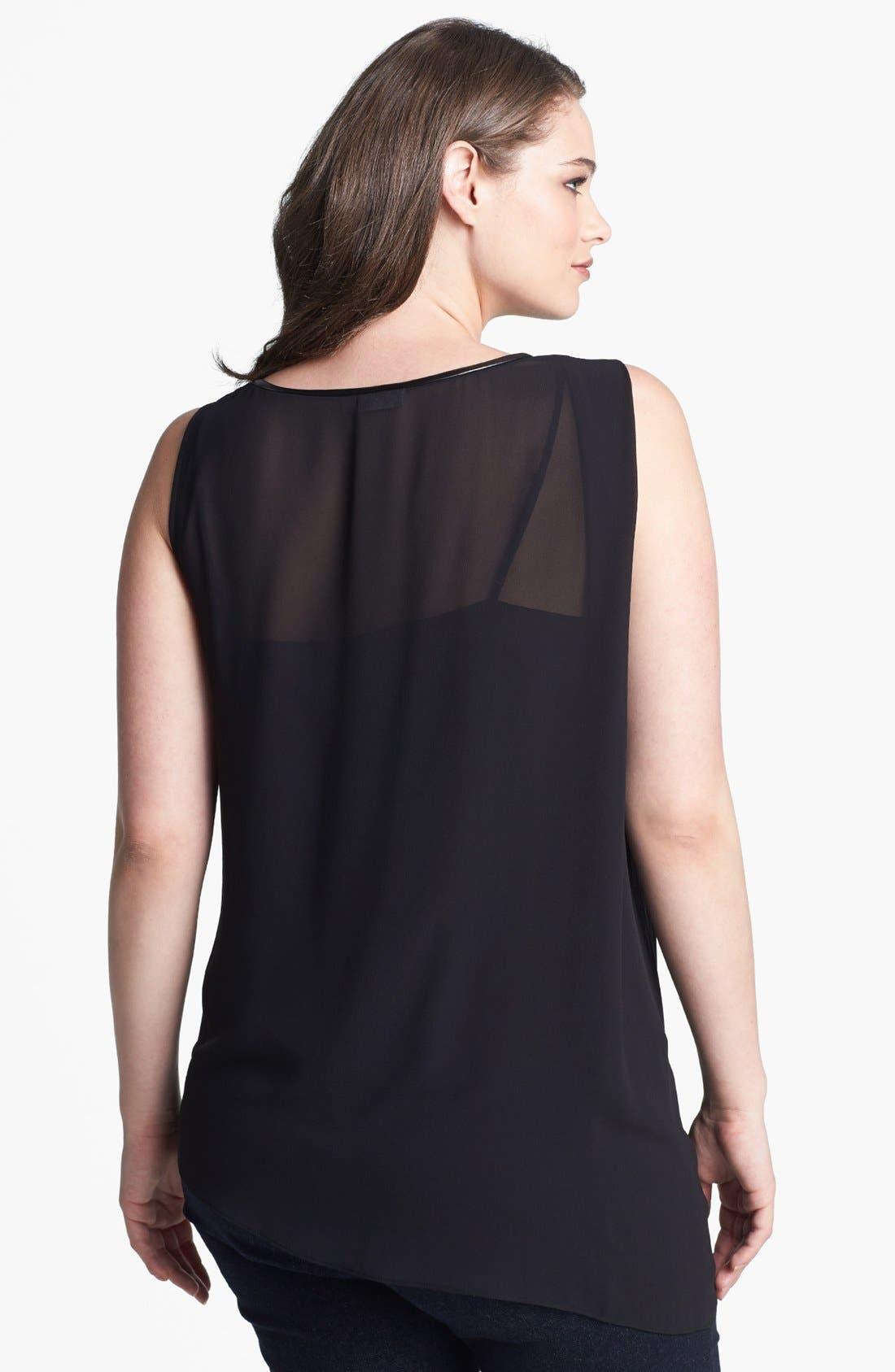 Alternate Image 2  - DKNYC Asymmetrical Sleeveless Blouse (Plus Size)