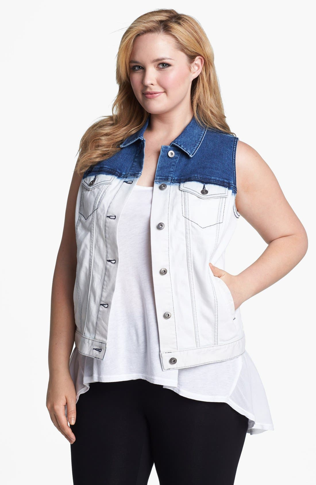 Alternate Image 1 Selected - Two by Vince Camuto Dip Dye Denim Vest (Plus Size)