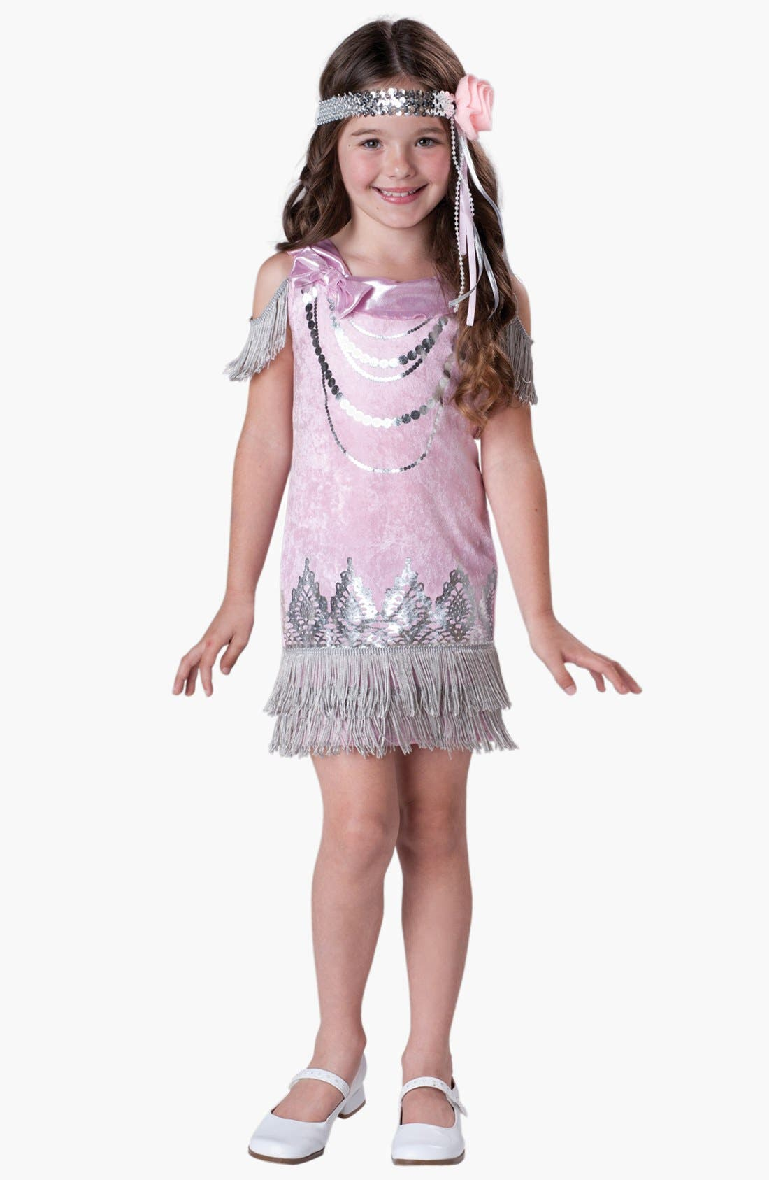 Alternate Image 1 Selected - InCharacter Costumes 'Fancy Flapper' Dress & Head Wrap (Little Girls & Big Girls)