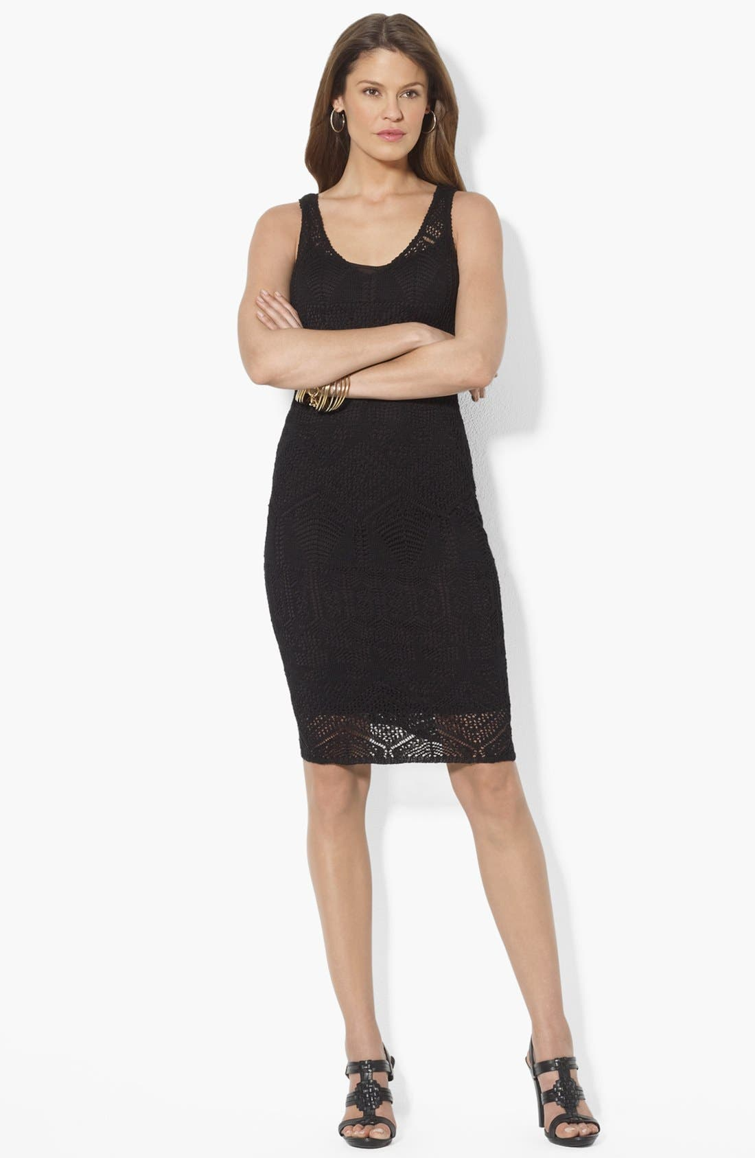 Alternate Image 1 Selected - Lauren Ralph Lauren V-Neck Pointelle Dress