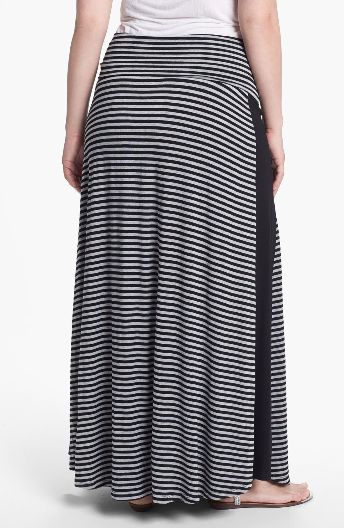 Alternate Image 2  - Bobeau Tuxedo Stripe Maxi Skirt (Plus Size)