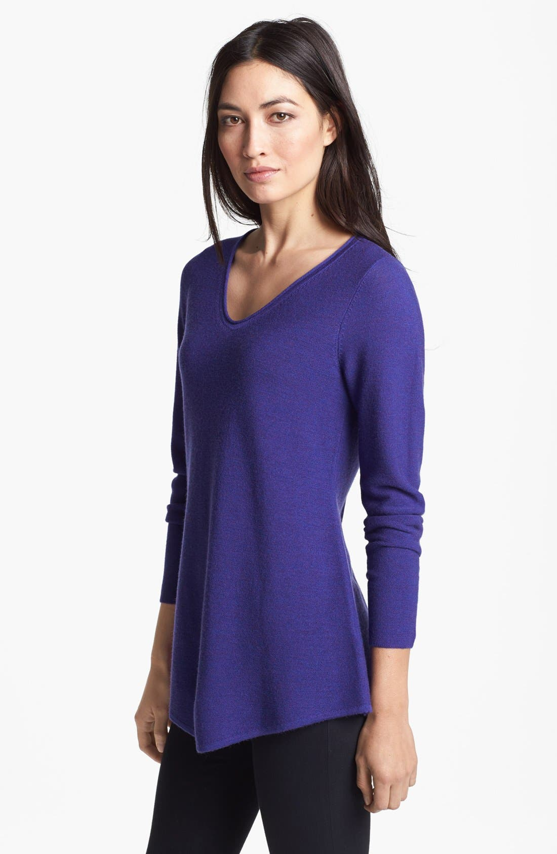 Alternate Image 1 Selected - Eileen Fisher Shirttail Hem V-Neck Merino Sweater