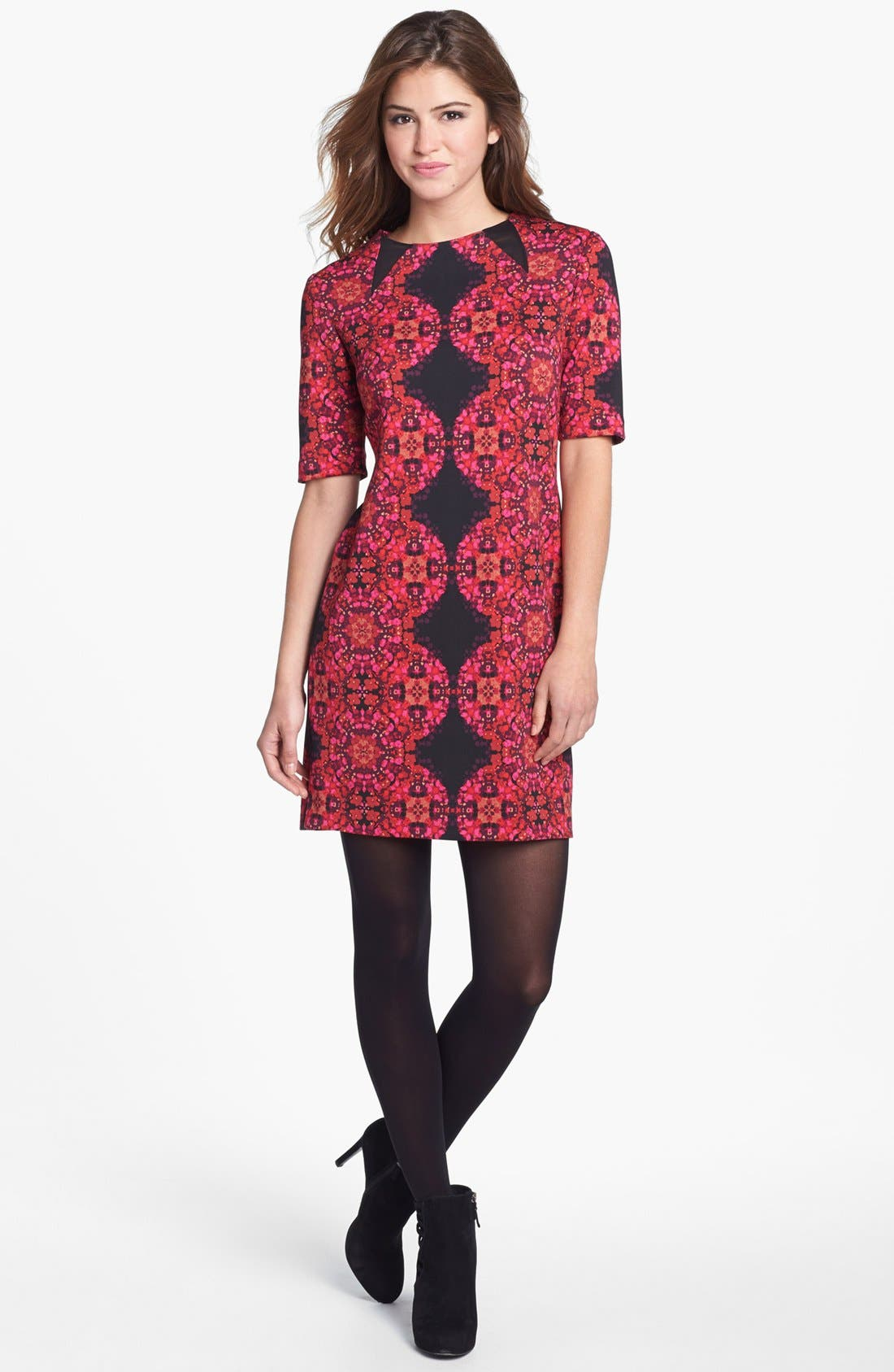 Main Image - Taylor Dresses Elbow Sleeve Print Ponte Sheath Dress