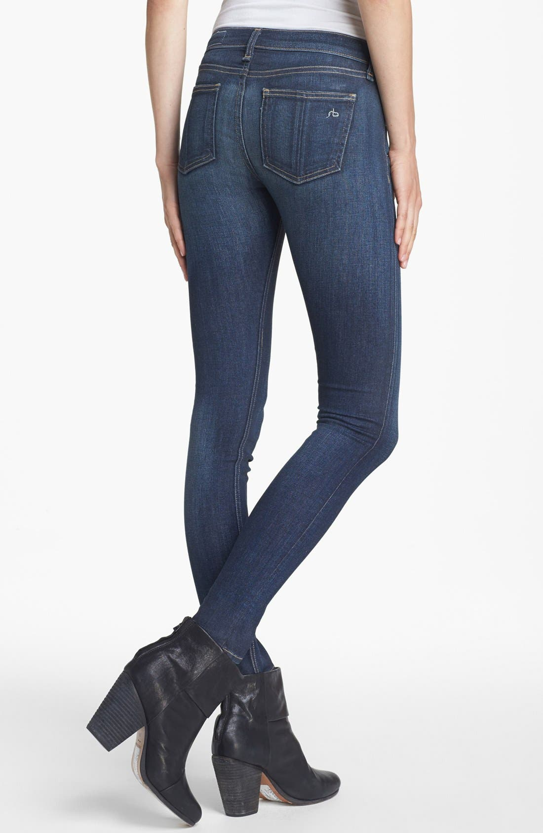 Alternate Image 2  - rag & bone/JEAN Skinny Stretch Jeans (Clean Charing)