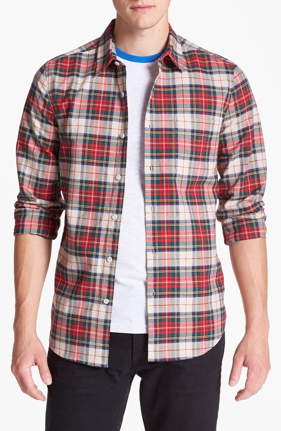 Alternate Image 1 Selected - Topman Plaid Oxford Shirt