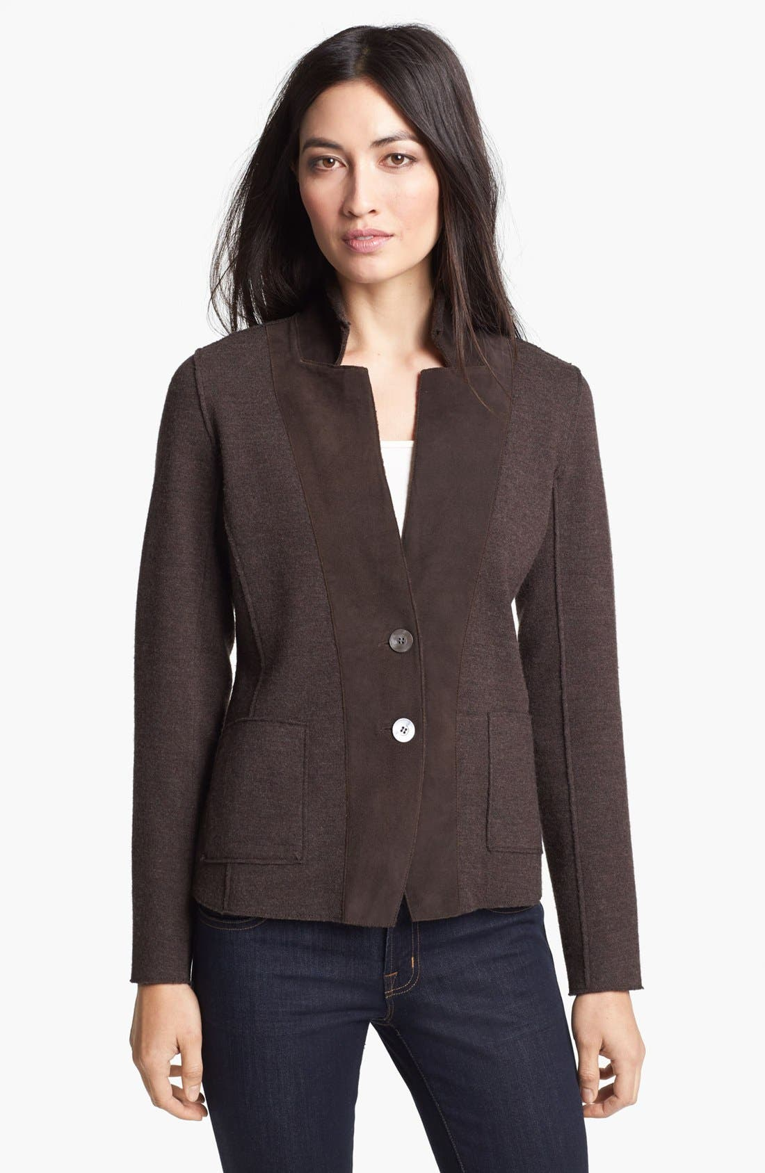 Main Image - Eileen Fisher Leather Trim Merino Blend Jacket