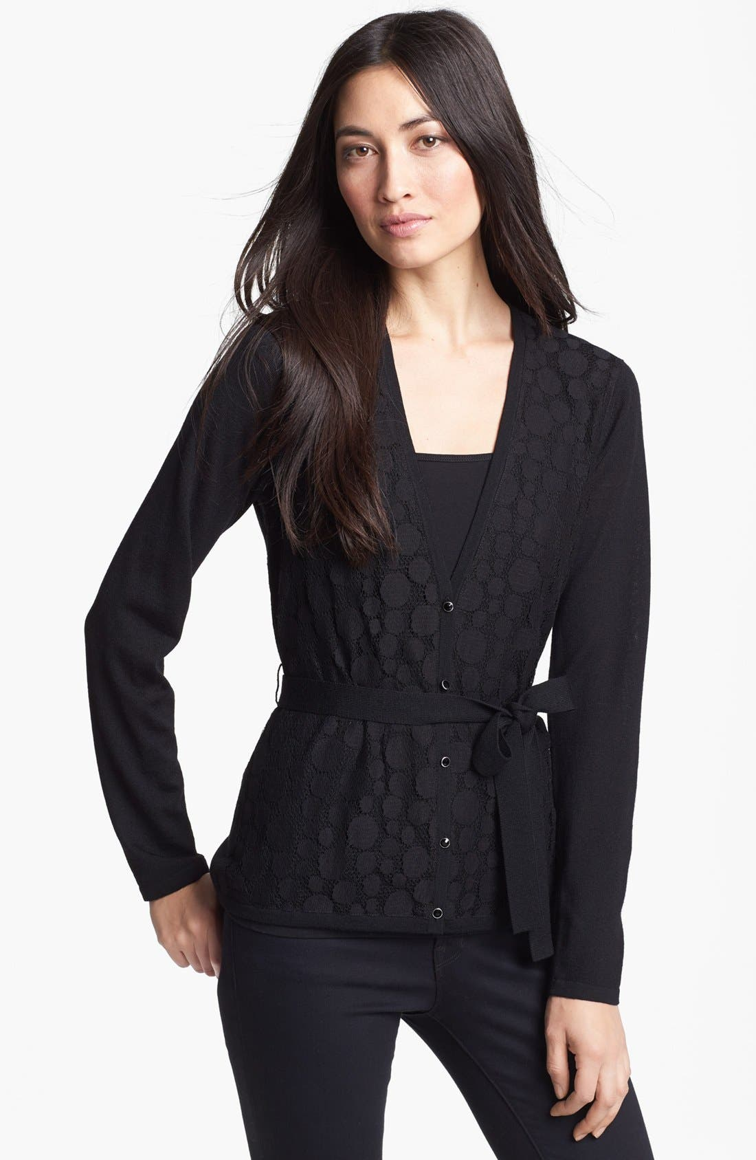 Main Image - Classiques Entier® 'Bella Lana' Lace Front Merino Cardigan
