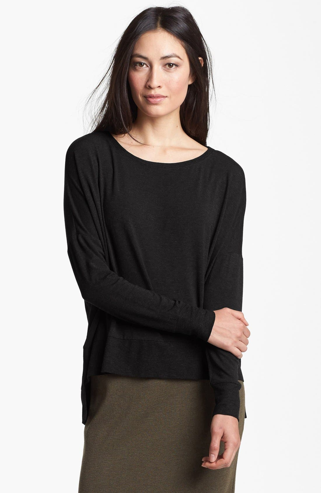 Alternate Image 1 Selected - Eileen Fisher Bateau Neck Jersey Top