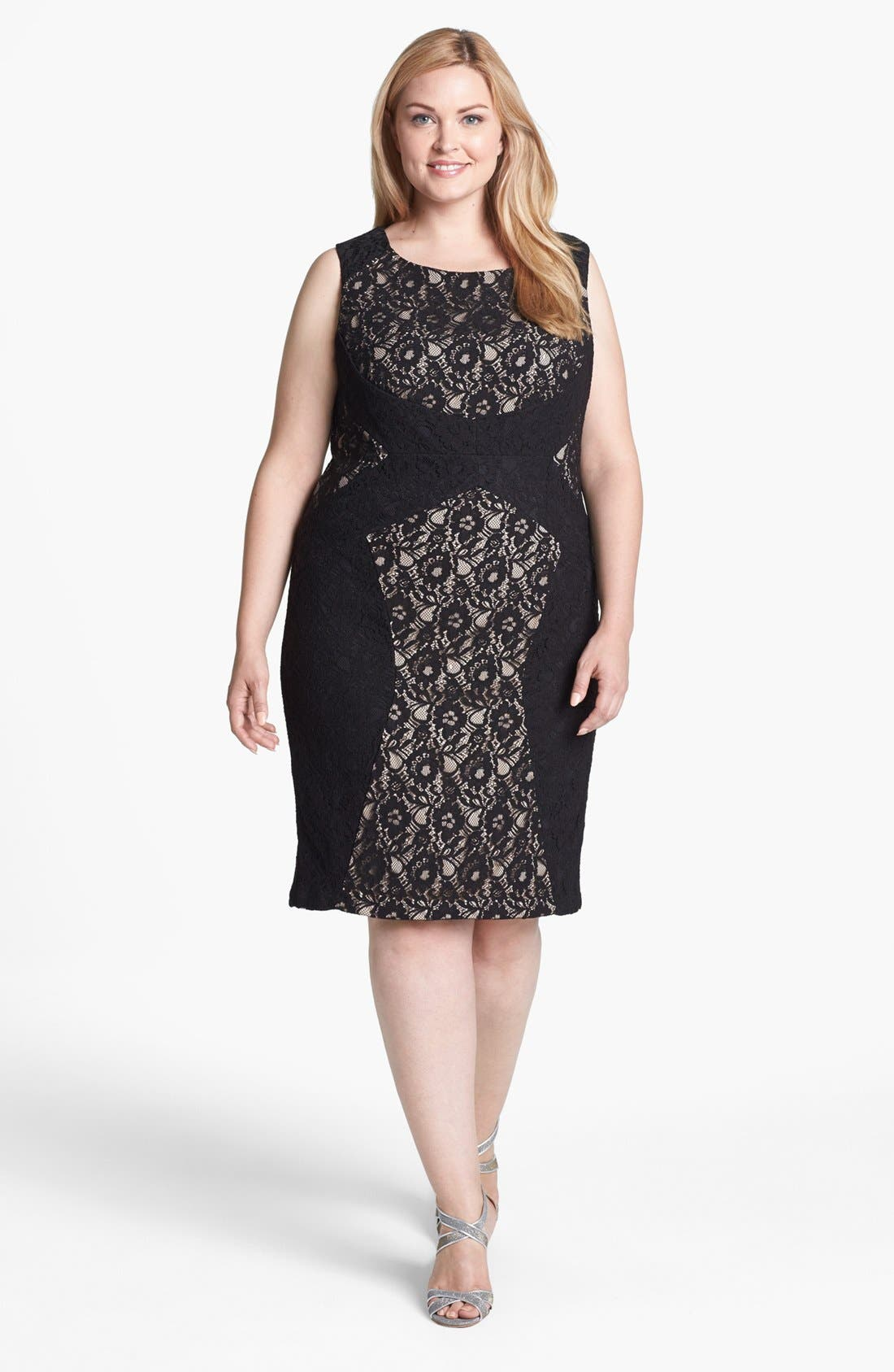 Main Image - Donna Ricco Colorblock Lace Sheath Dress (Plus Size)