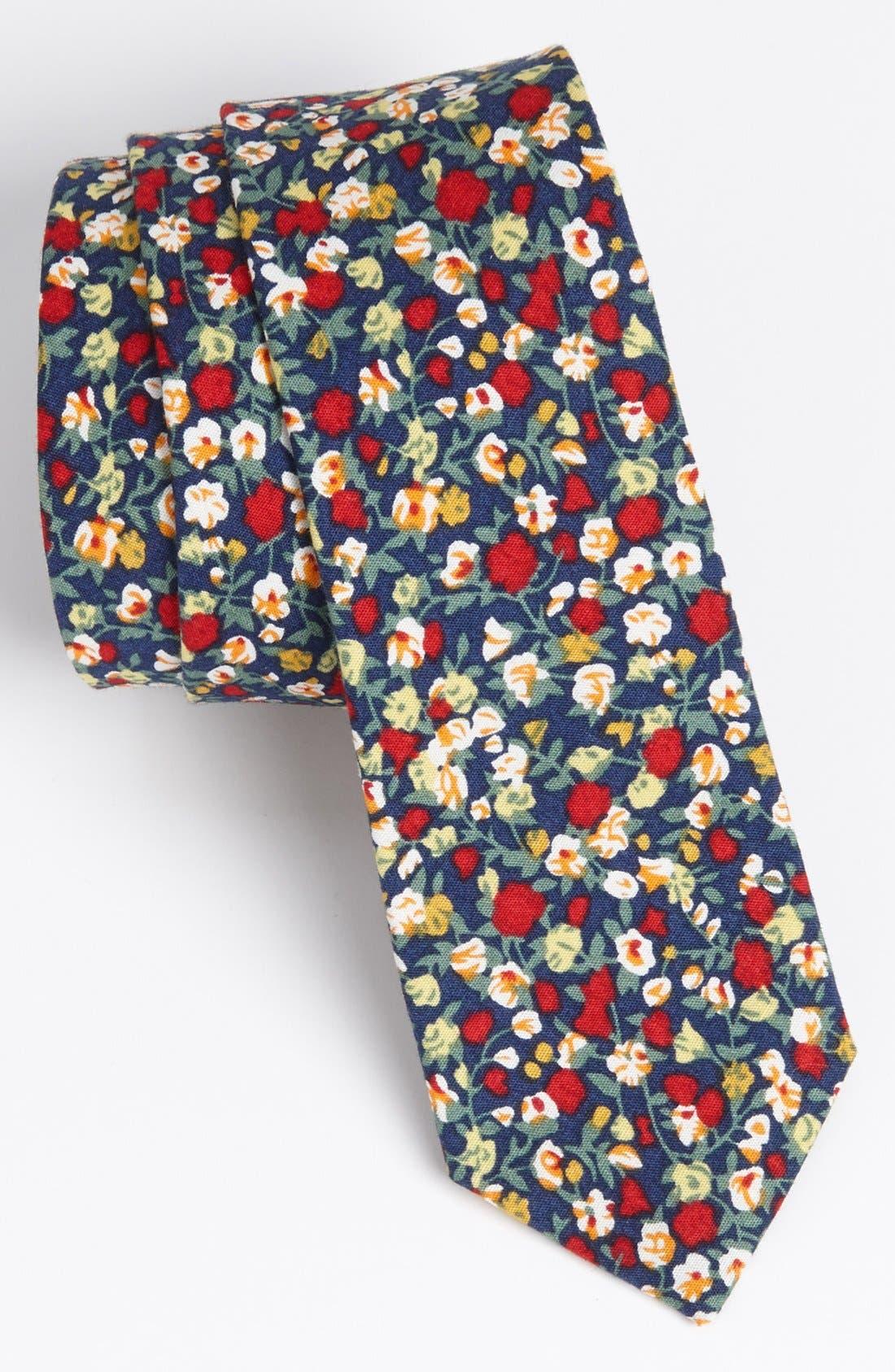 Main Image - Topman Floral Print Woven Cotton Tie