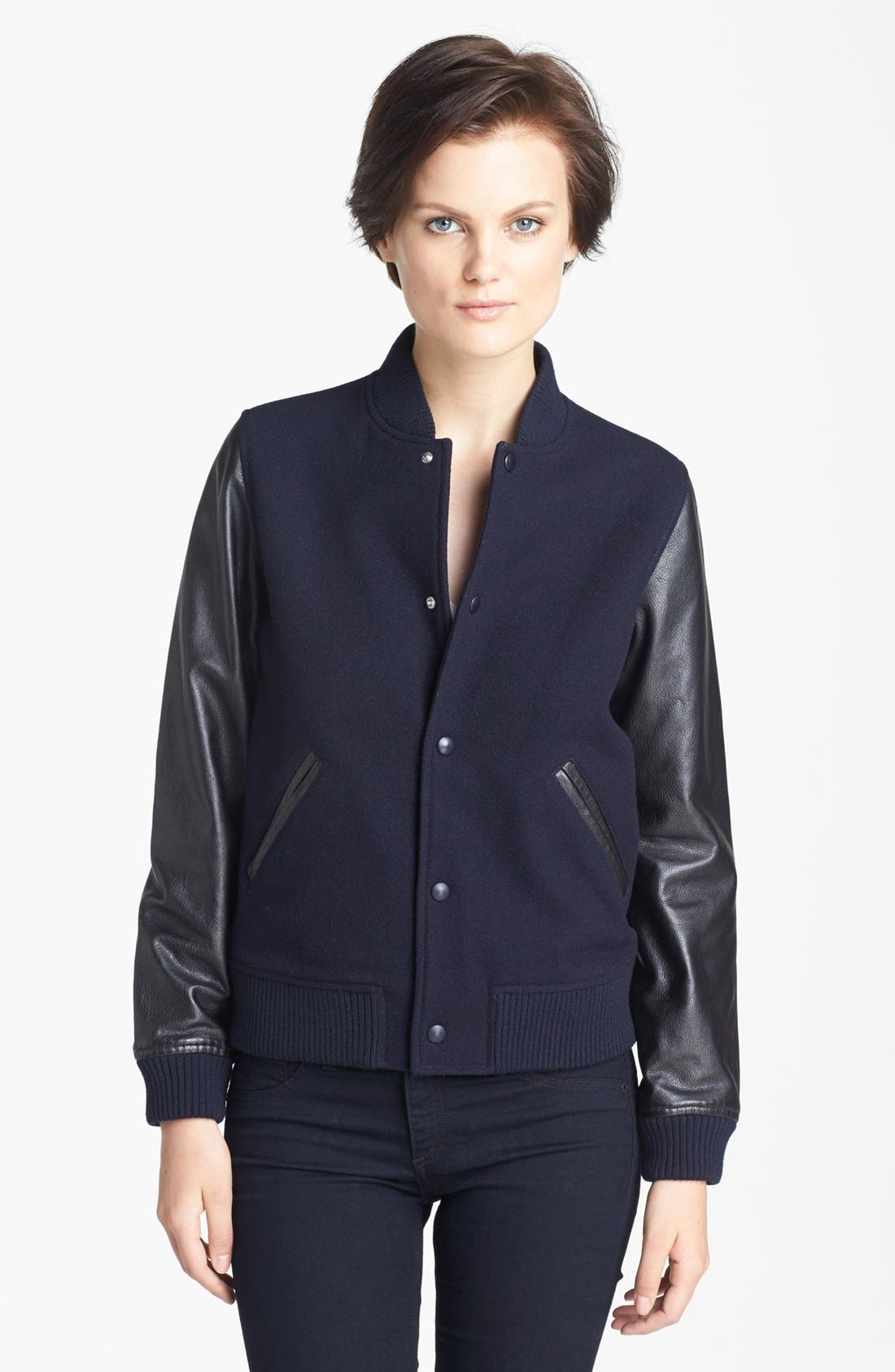Alternate Image 3  - A.P.C. Leather Sleeve Baseball Jacket