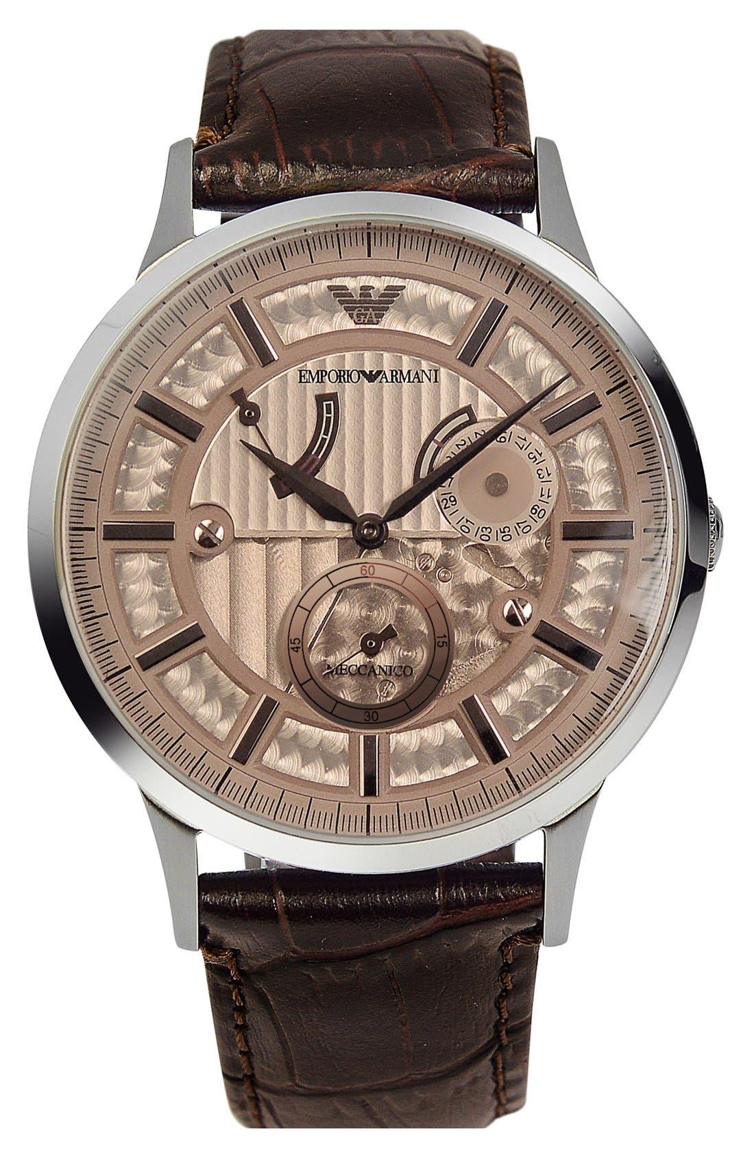 Alternate Image 1 Selected - Emporio Armani Meccanico Automatic Leather Strap Watch, 43mm