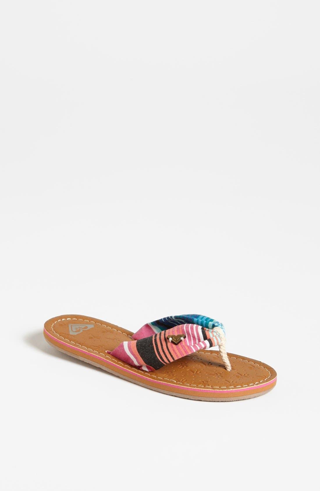 Alternate Image 1 Selected - Roxy Stripe Sandal (Toddler, Little Kid & Big Kid)