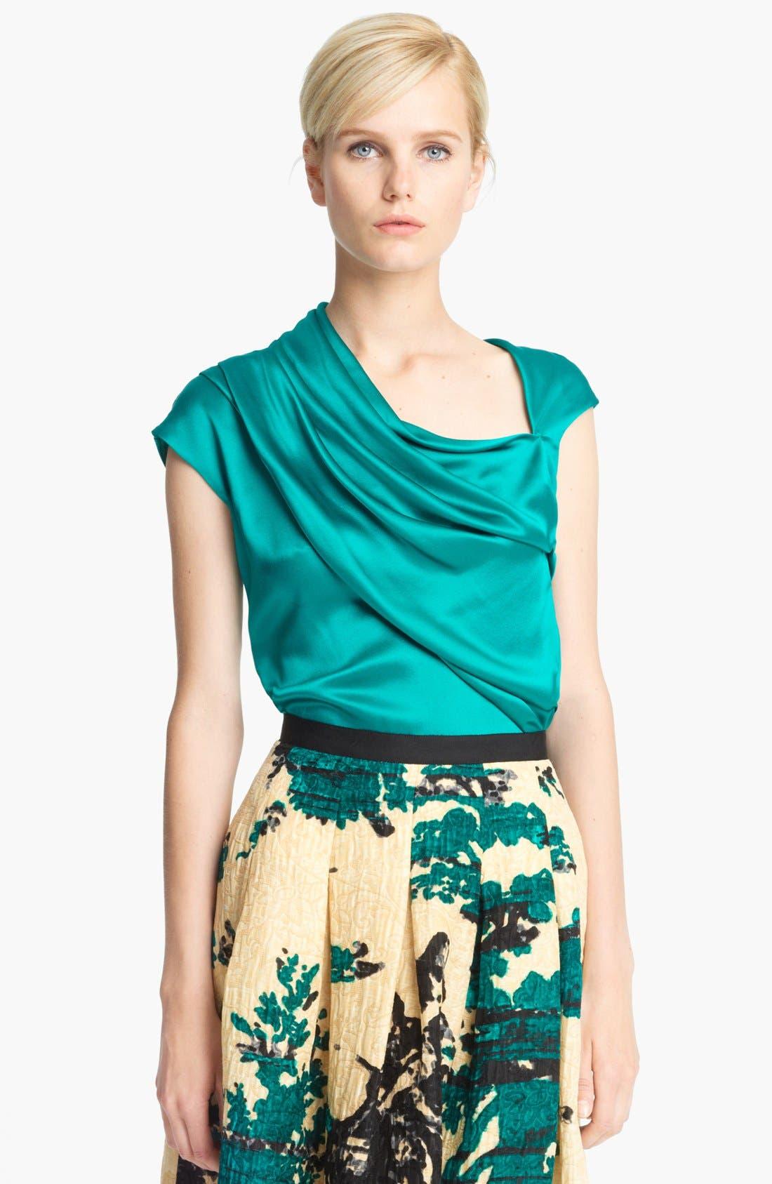 Alternate Image 1 Selected - Oscar de la Renta Draped Silk Blouse
