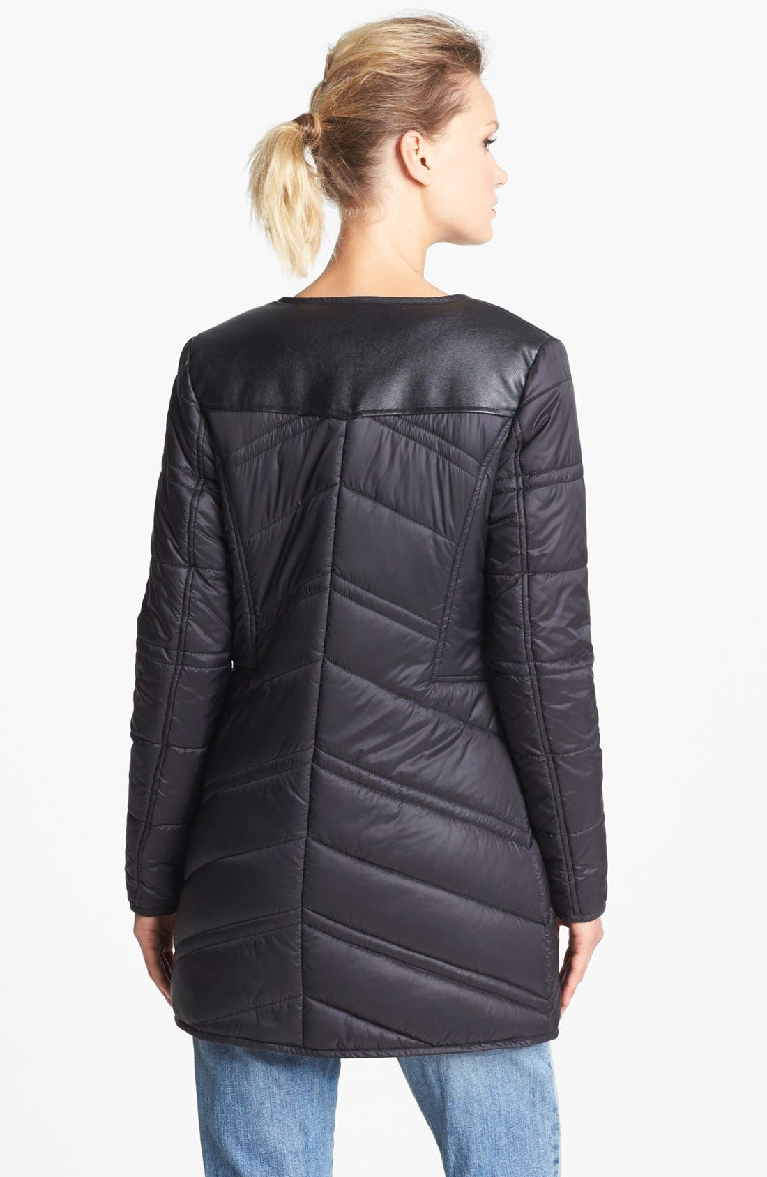 Alternate Image 2  - French Connection Collarless Quilted Coat