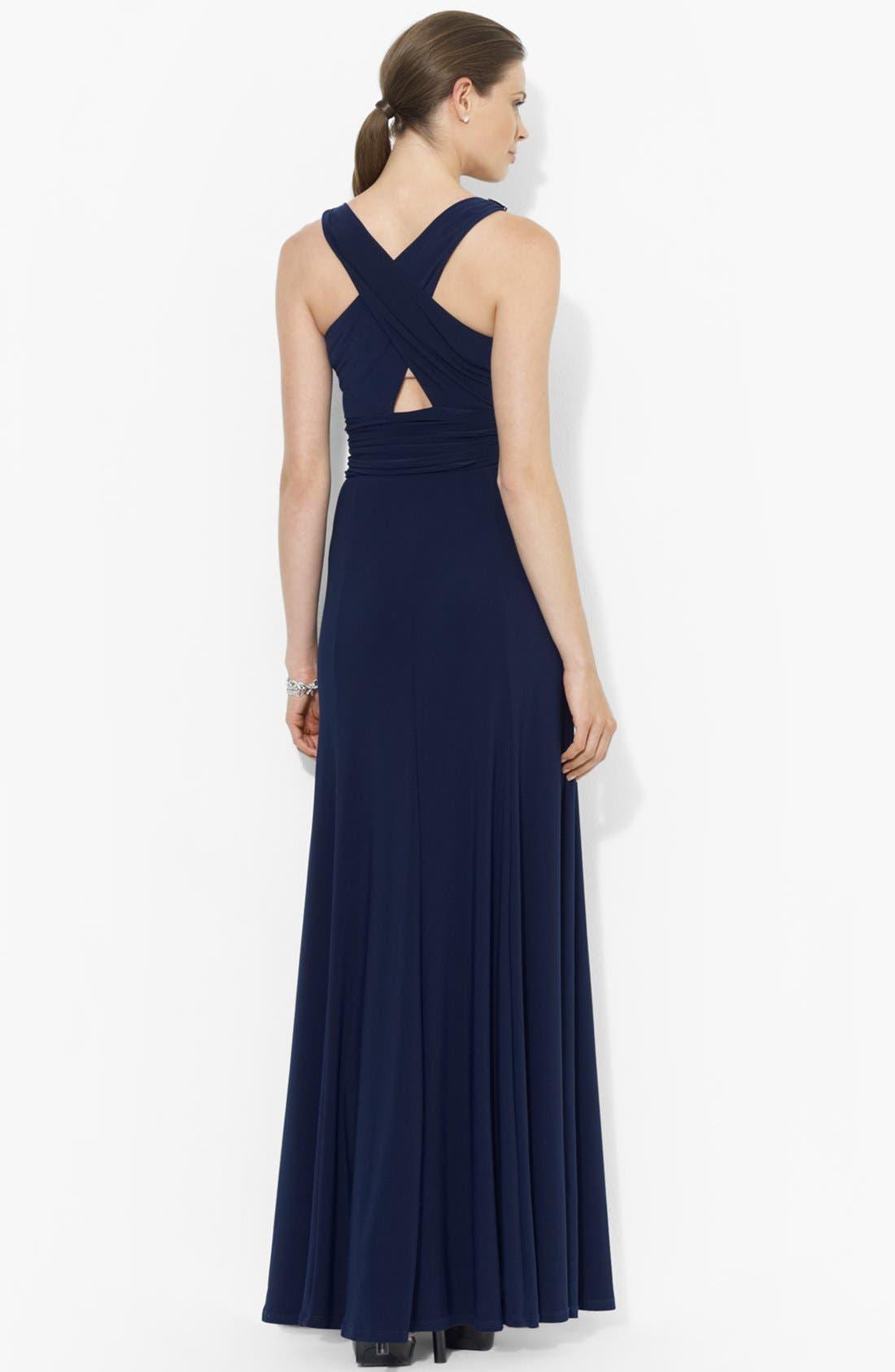 Alternate Image 2  - Lauren Ralph Lauren Empire Matte Jersey Dress
