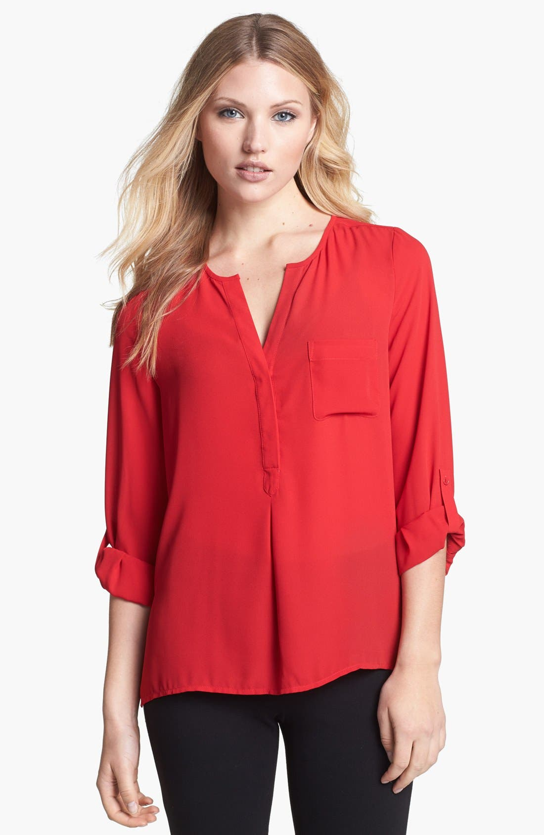 Main Image - Chaus Roll Sleeve Henley Blouse