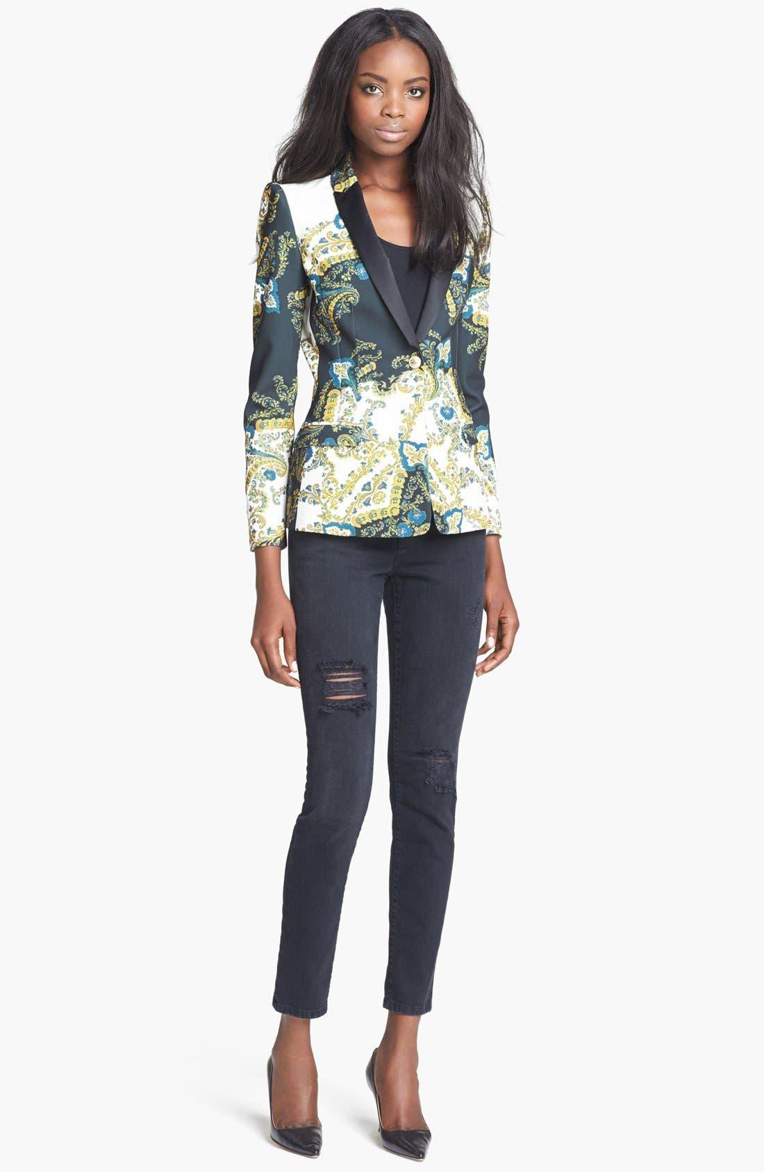 Alternate Image 2  - Just Cavalli Contrast Lapel Paisley Print Jacket